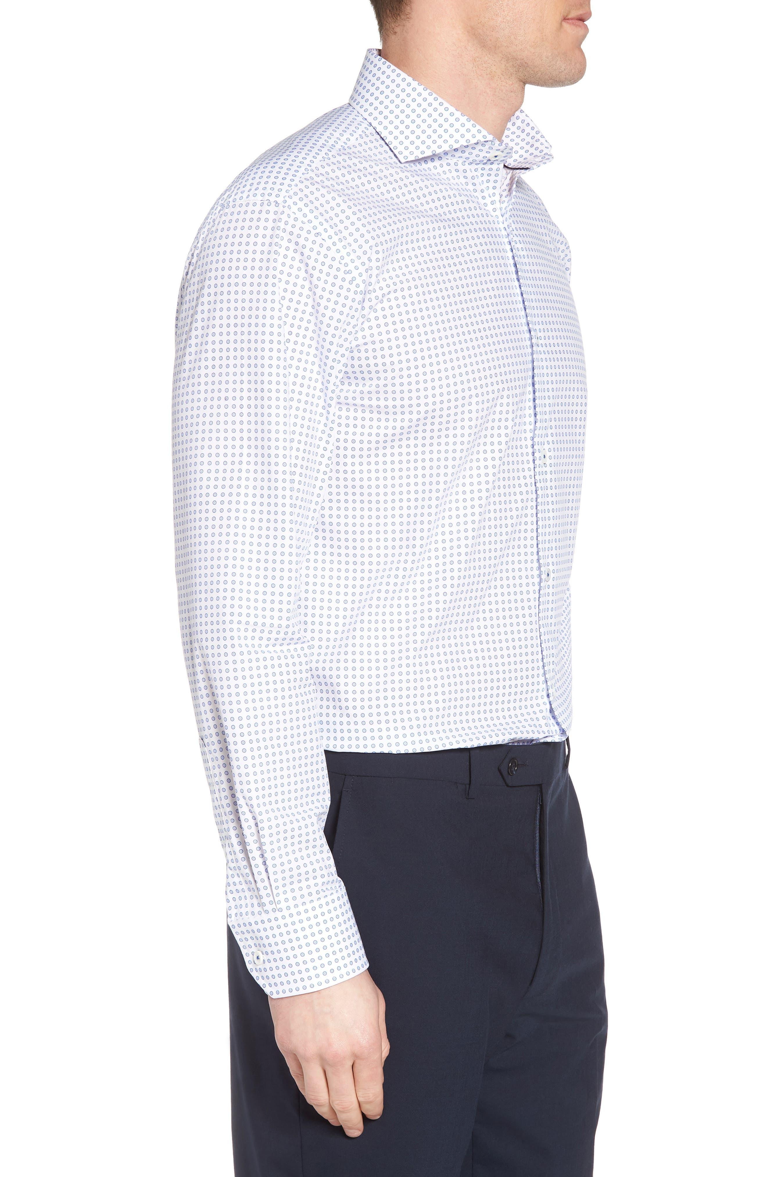 Trim Fit Dot Dress Shirt,                             Alternate thumbnail 4, color,                             CLASSIC BLUE