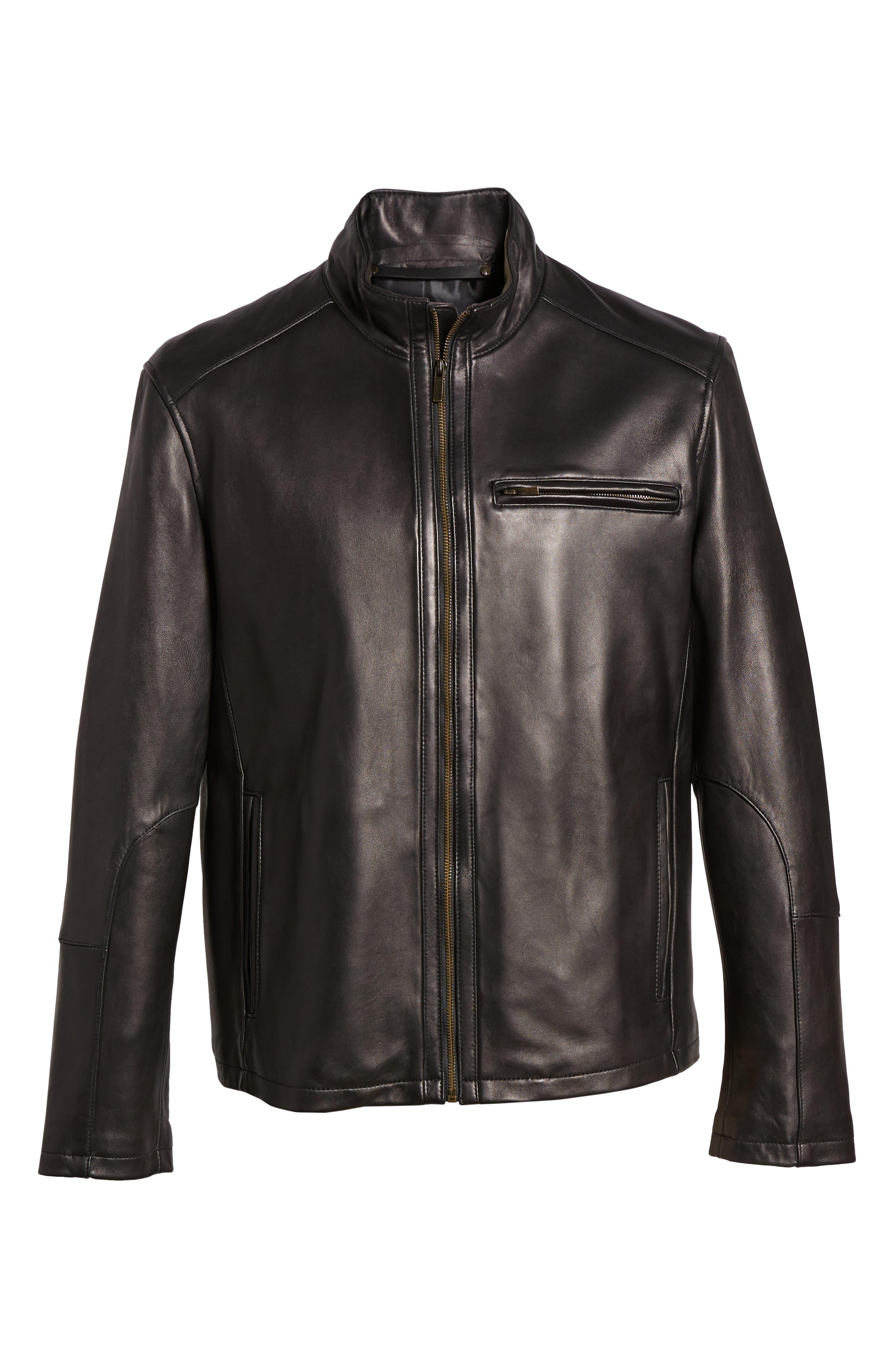 COLE HAAN,                             Lambskin Leather Moto Jacket,                             Alternate thumbnail 2, color,                             BLACK