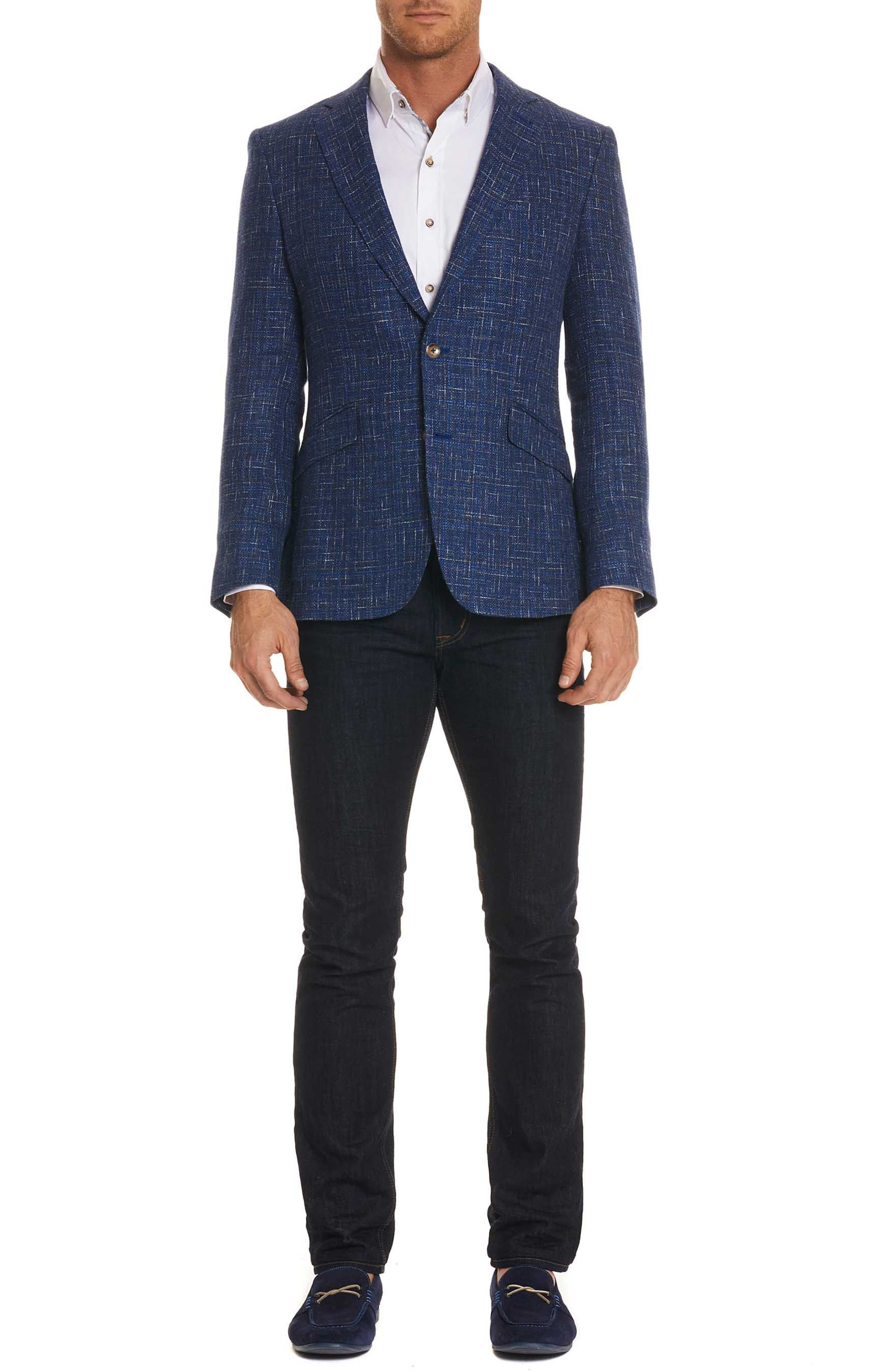 Jeremy Tailored Fit Sportcoat,                             Alternate thumbnail 5, color,                             BLUE
