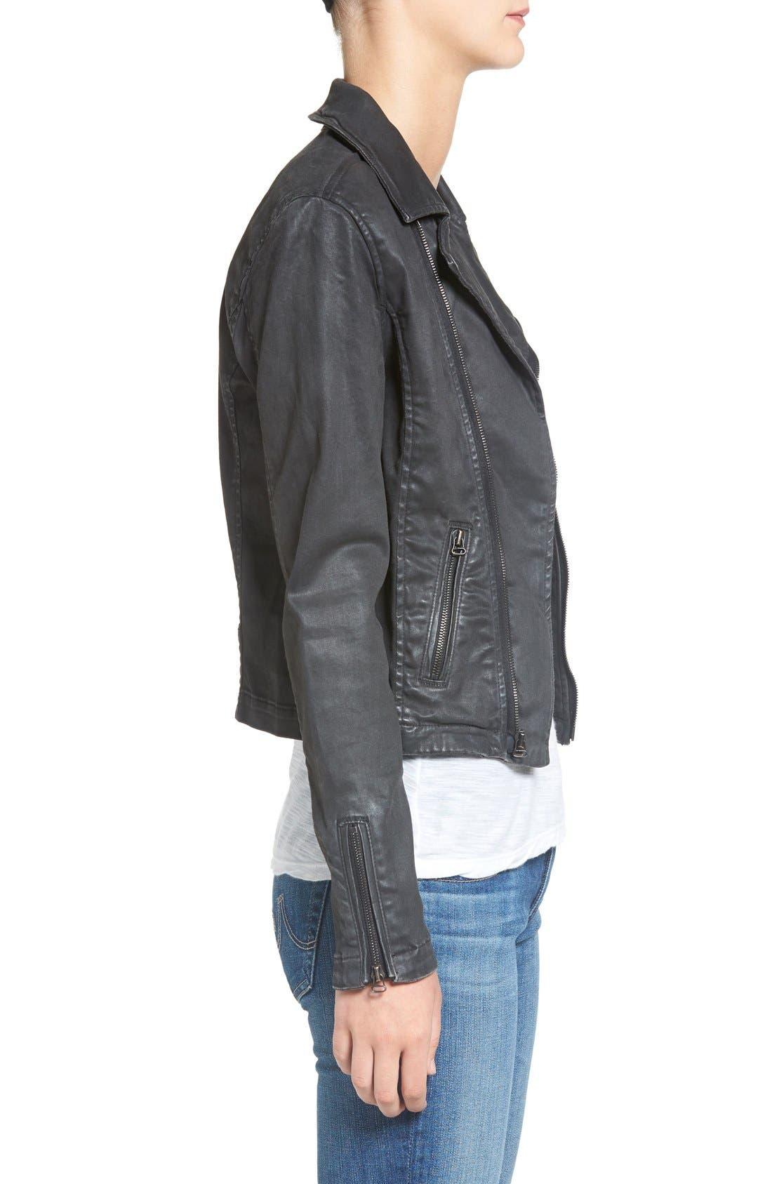 The Moto Coated Denim Jacket,                             Alternate thumbnail 3, color,                             012
