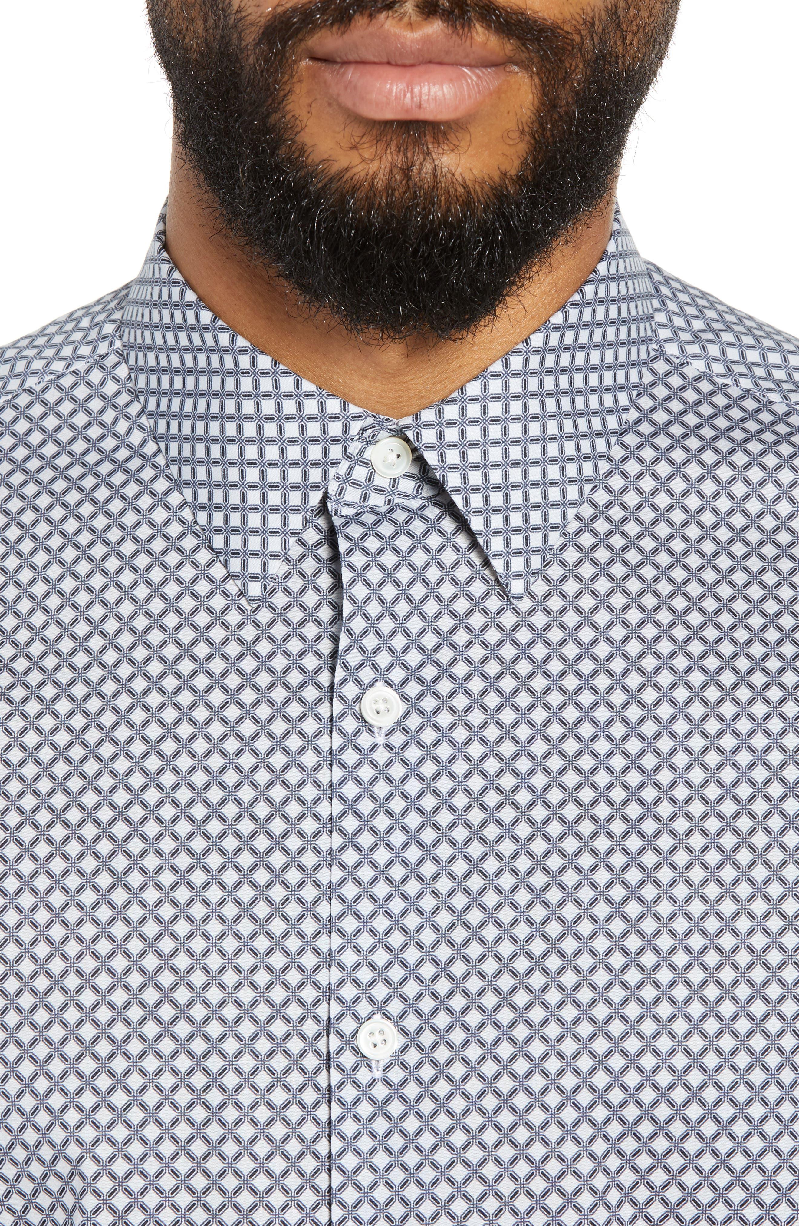 Menlo Halldale Slim Fit Stretch Short Sleeve Sport Shirt,                             Alternate thumbnail 4, color,                             SHALE MULTI
