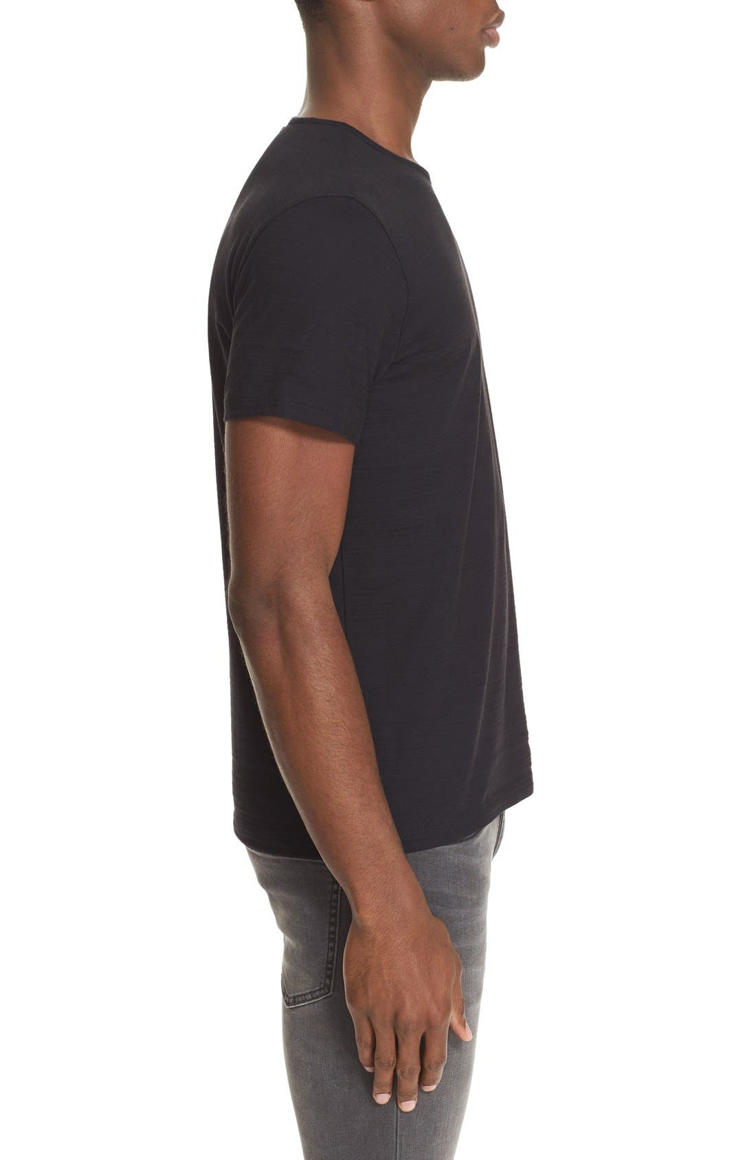 Slub Pima Cotton T-Shirt,                             Alternate thumbnail 3, color,                             BLACK