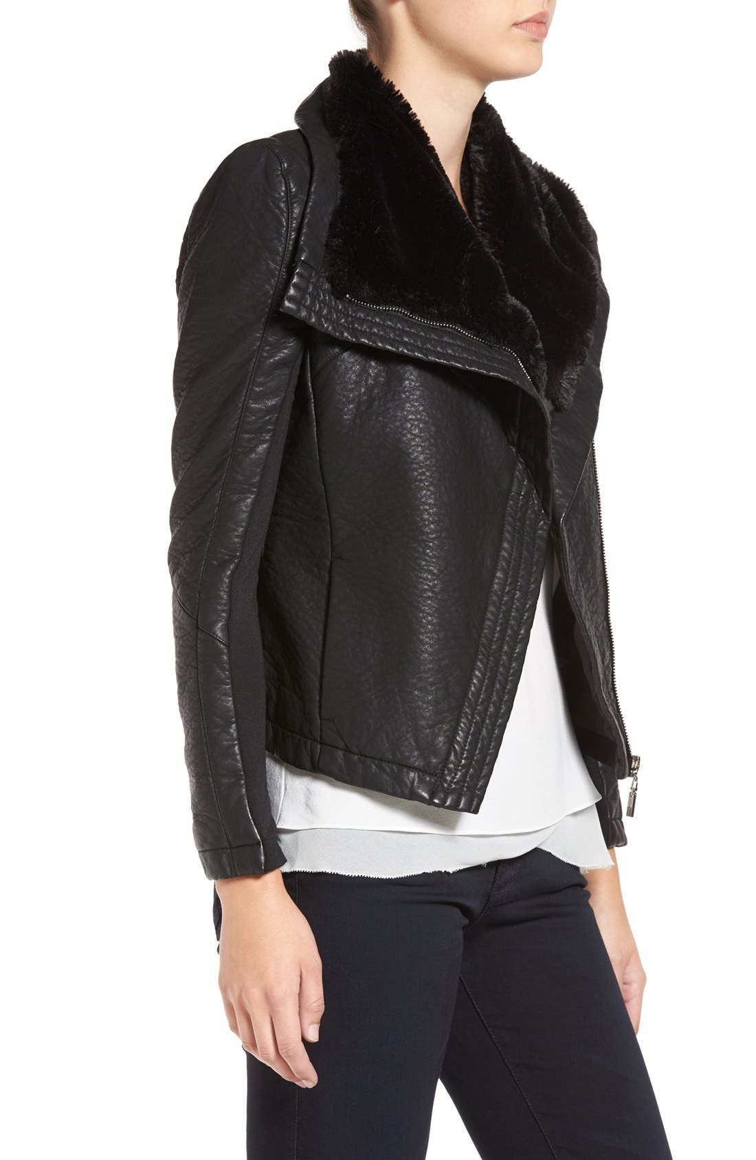 Faux Leather Jacket with Faux Shearling Trim,                             Alternate thumbnail 5, color,