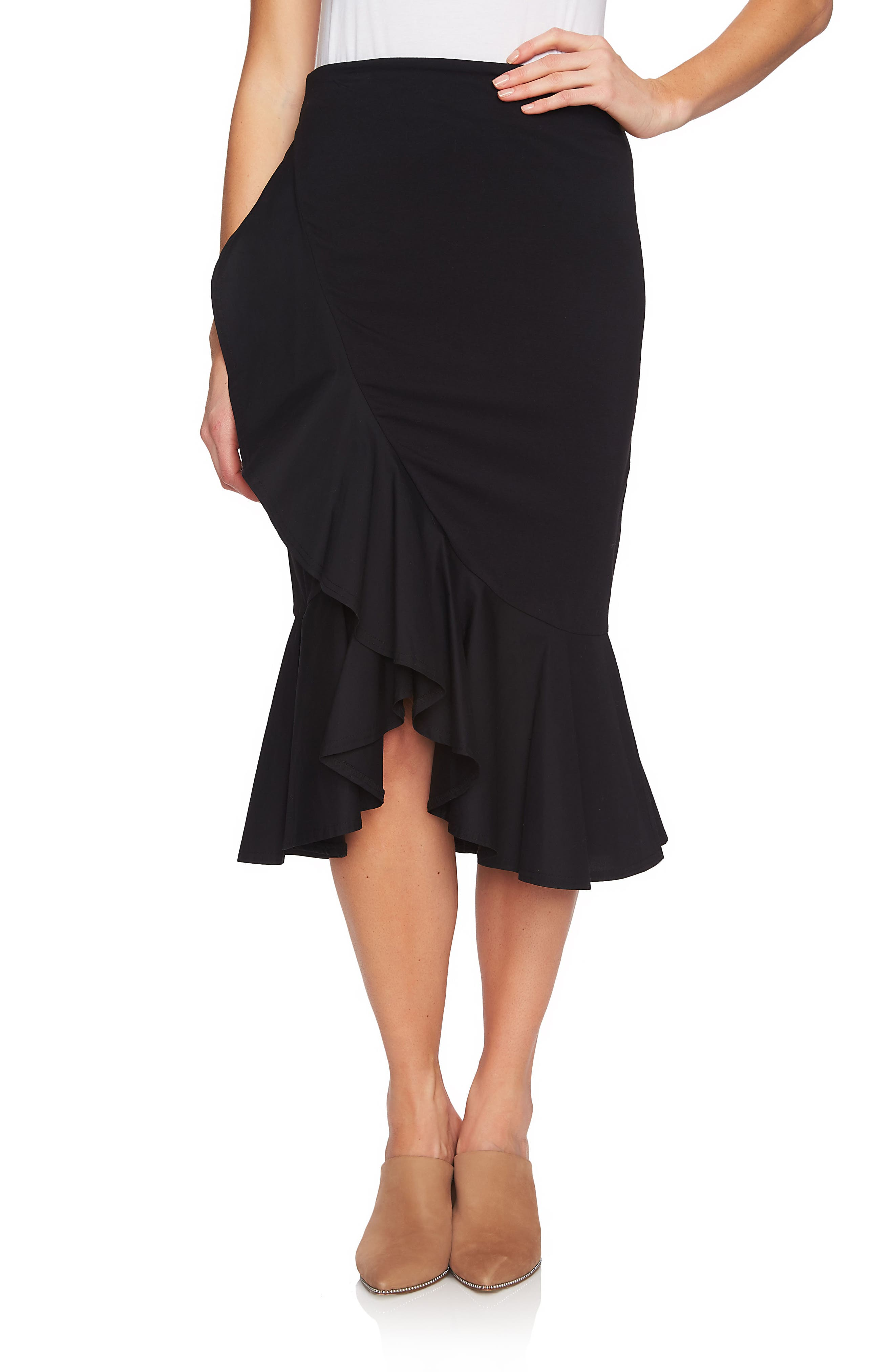 Ruffle Skirt,                             Main thumbnail 1, color,                             RICH BLACK