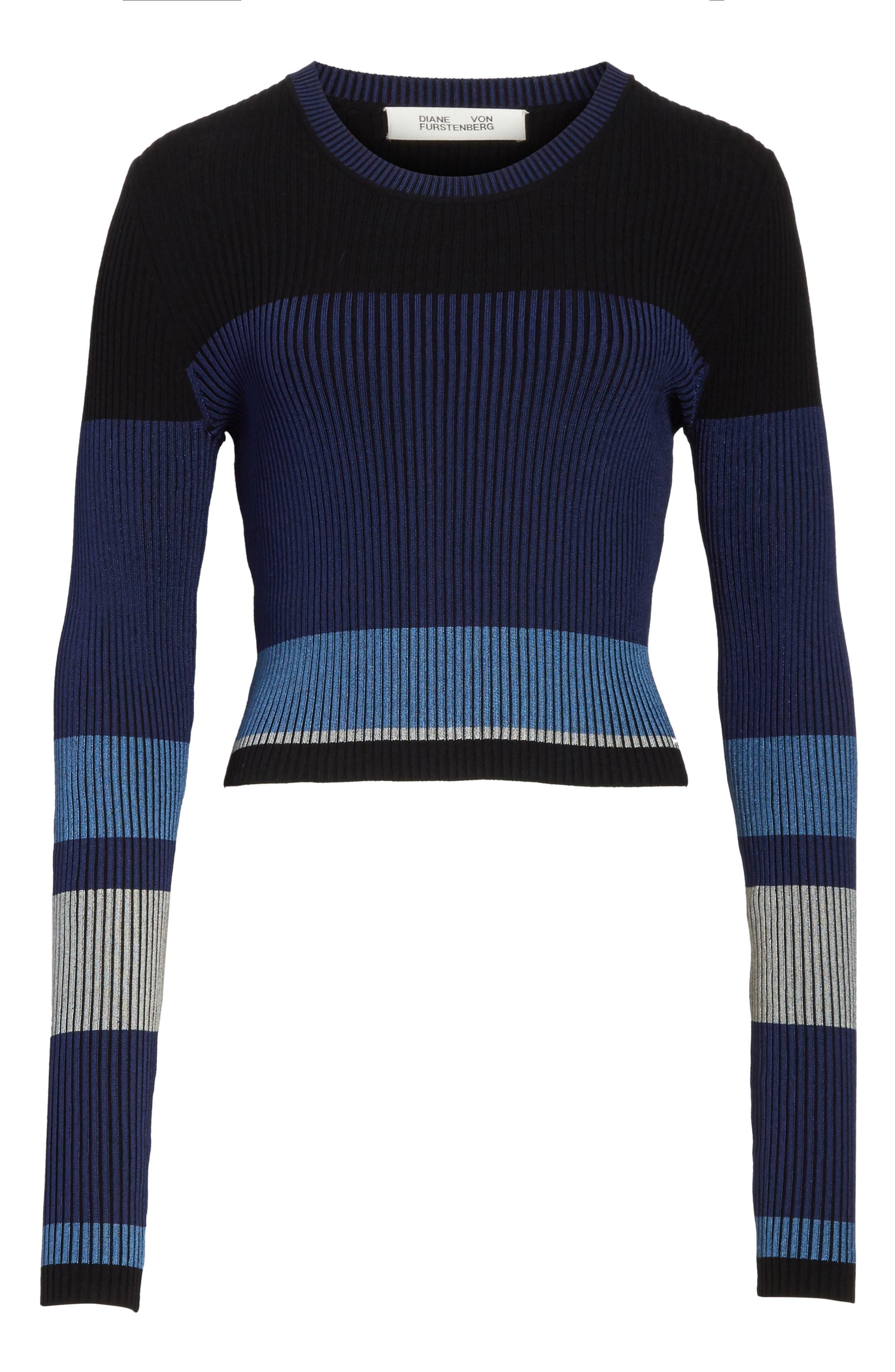 Diane von Furstenberg Cropped Plaited Pullover,                             Alternate thumbnail 12, color,