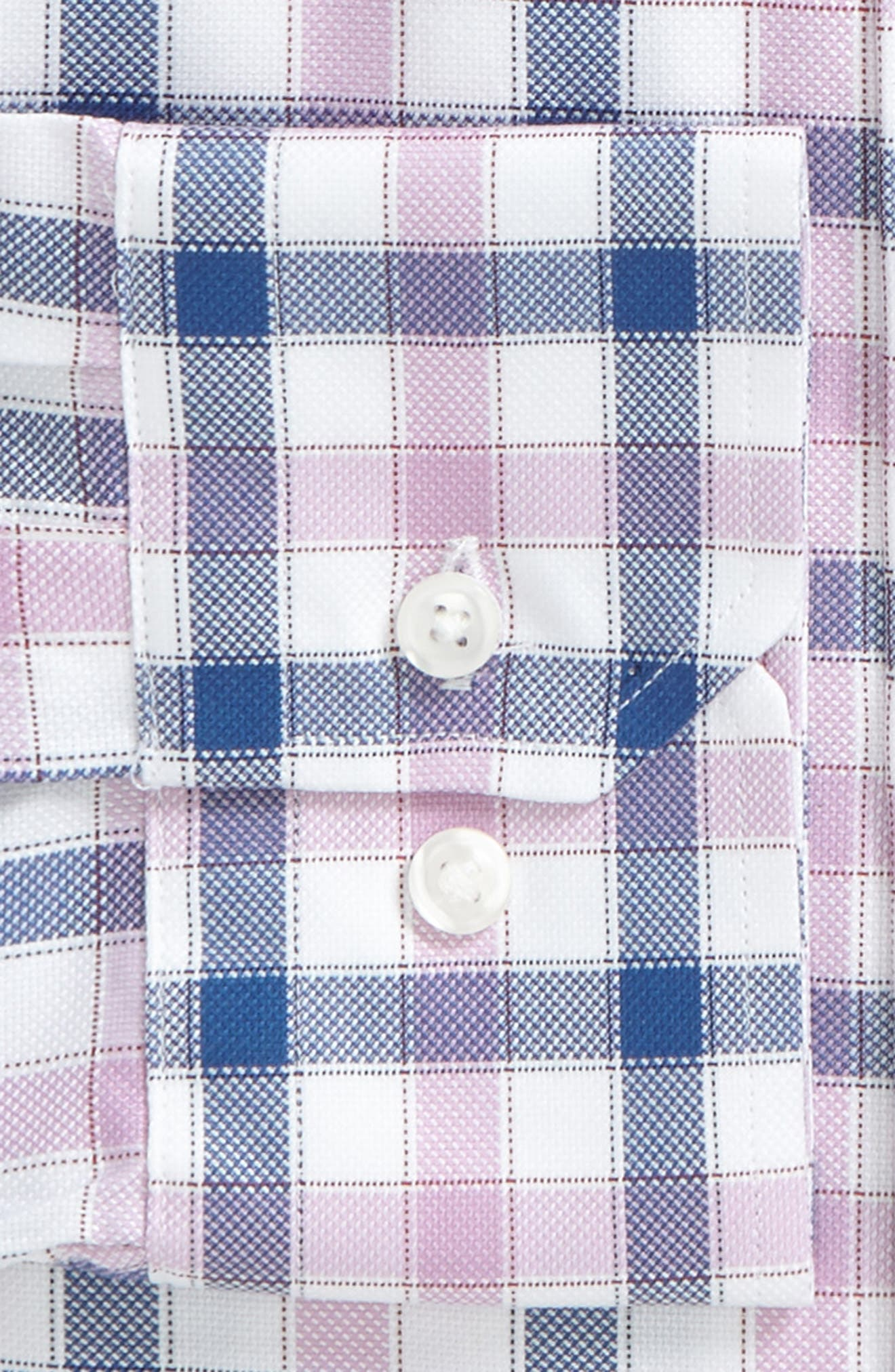 Trim Fit Plaid Dress Shirt,                             Alternate thumbnail 3, color,