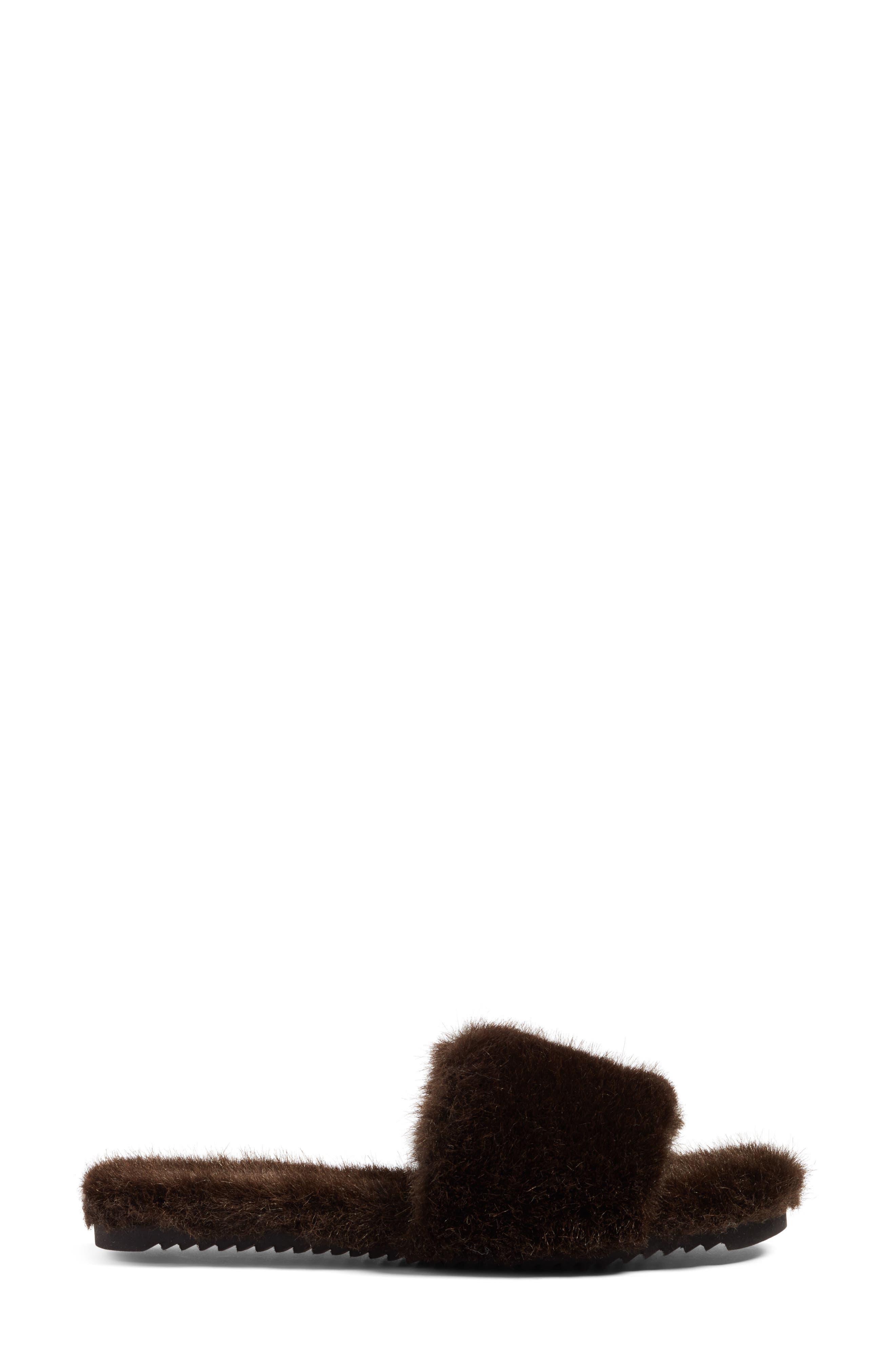 Faux Fur Slide Sandal,                             Alternate thumbnail 3, color,                             200