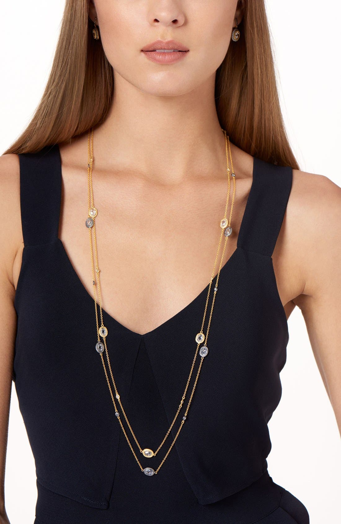 'Mercer' Raindrop Station Long Wrap Necklace,                             Alternate thumbnail 4, color,                             GOLD/ CLEAR