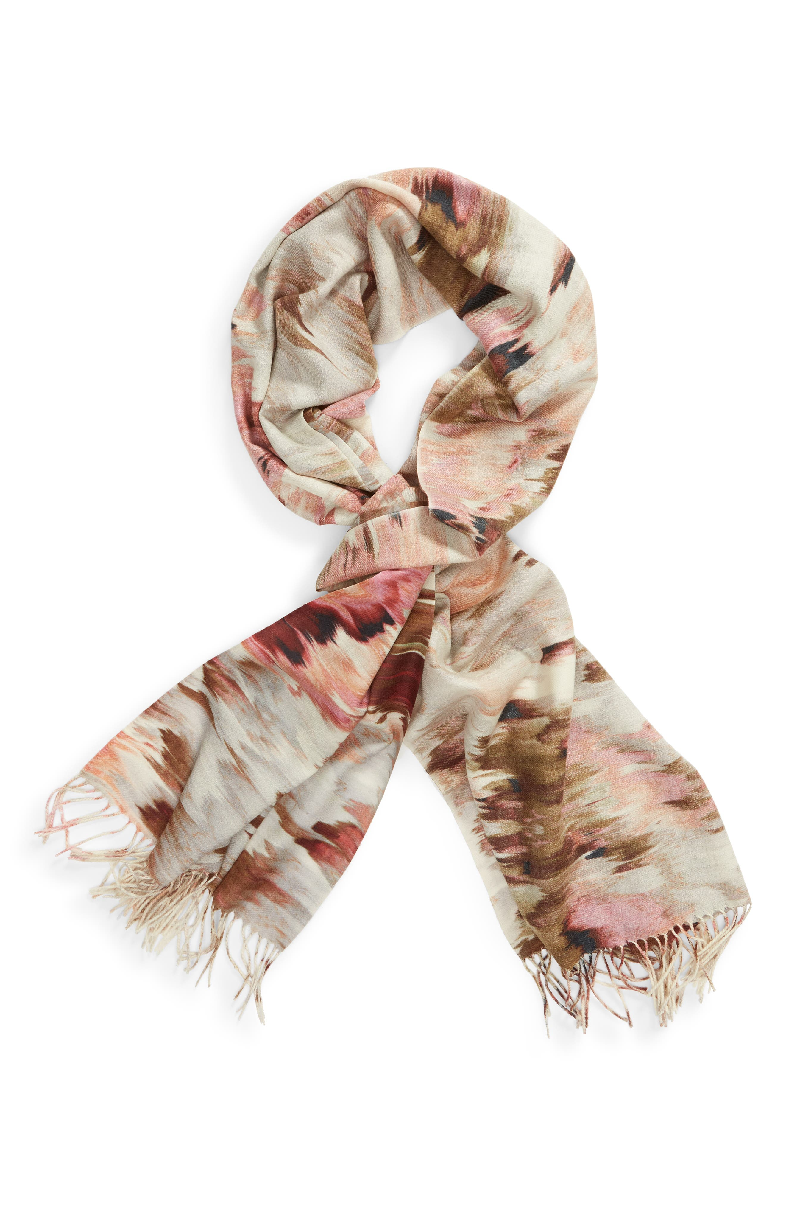 Tissue Print Wool & Cashmere Wrap Scarf,                             Alternate thumbnail 90, color,