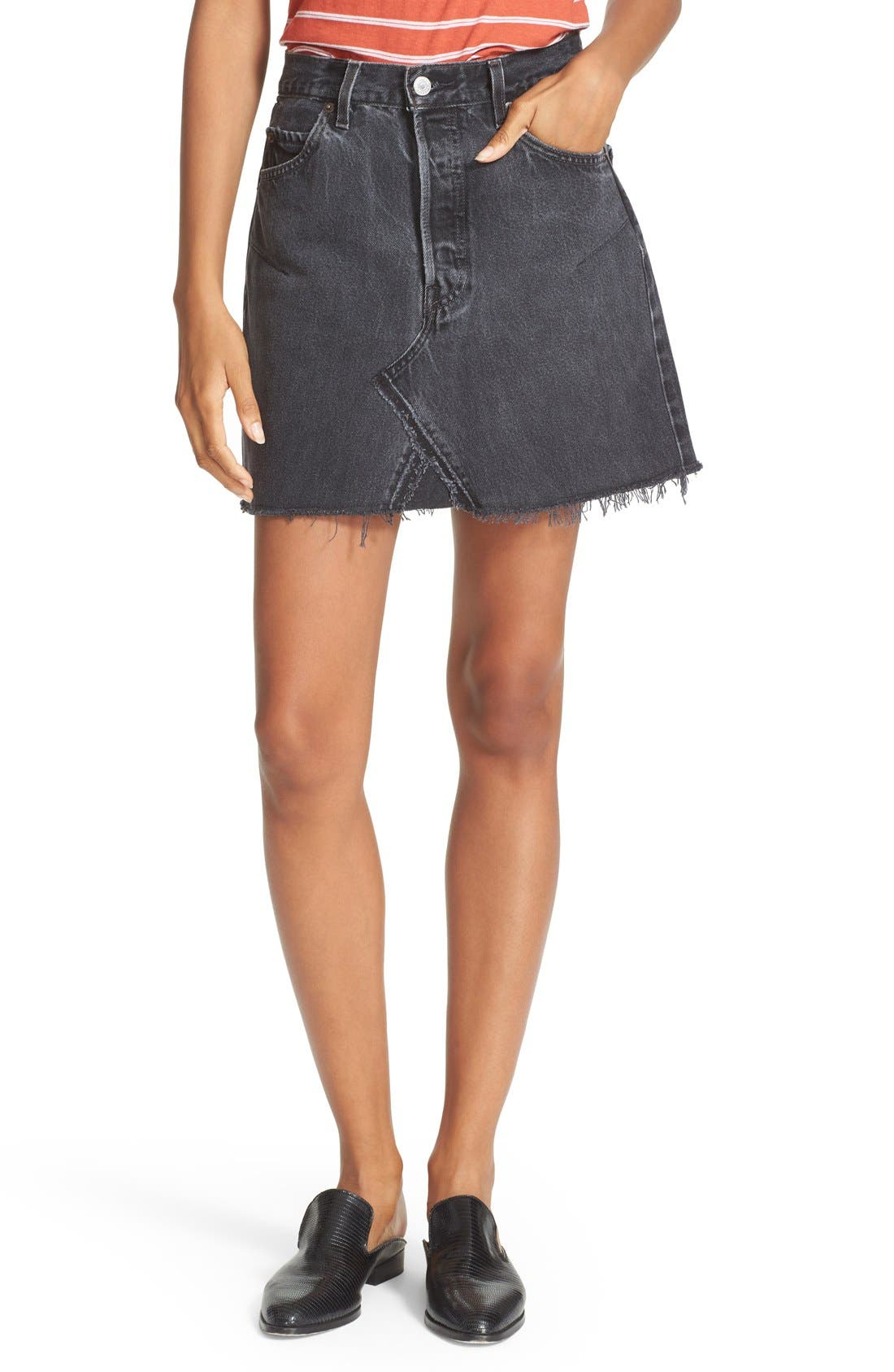 High Waist Repurposed Denim Miniskirt,                         Main,                         color, BLACK