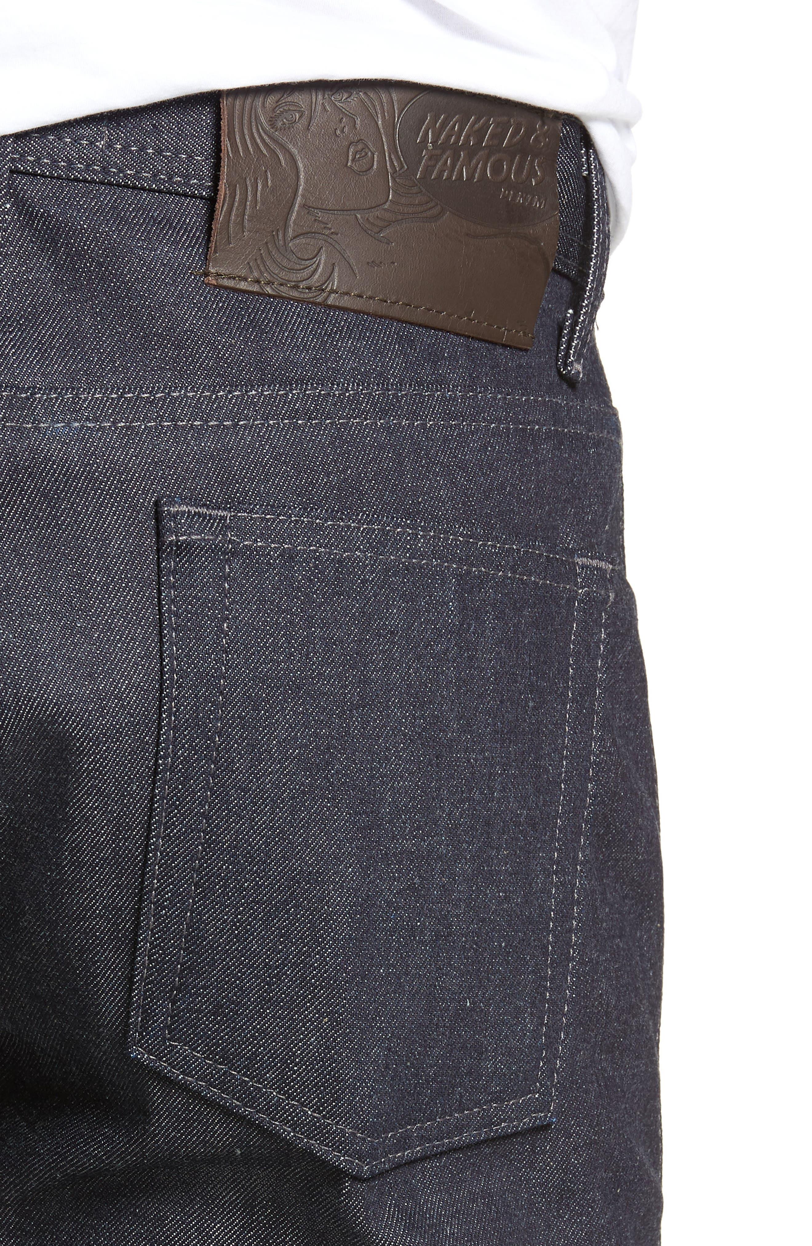 'Weird Guy' Slim Fit Selvedge Jeans,                             Alternate thumbnail 4, color,                             INDIGO