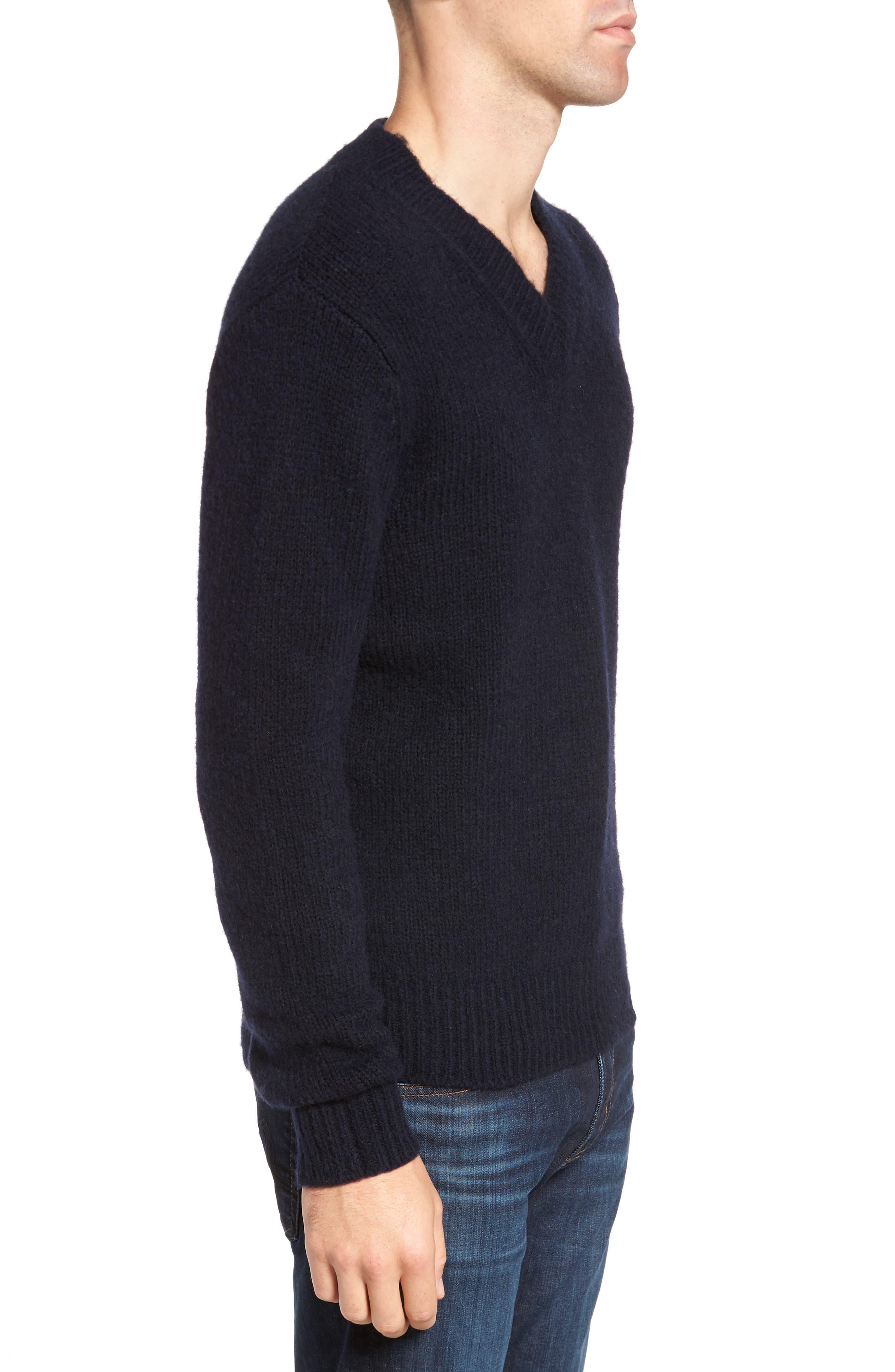Fuzzy Deep V-Neck Wool Blend Sweater,                             Alternate thumbnail 6, color,