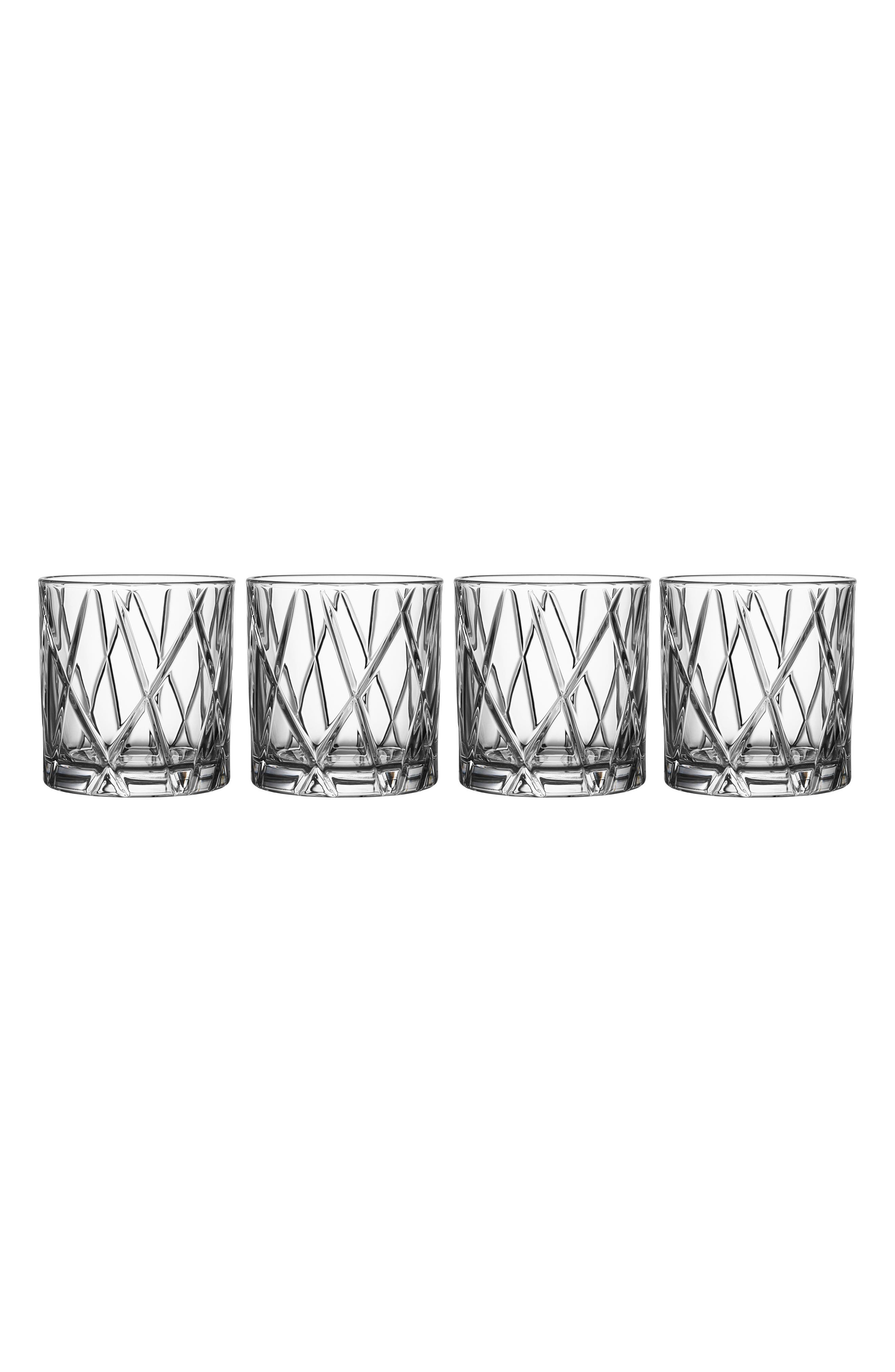 City Set of 4 Crystal Double Old Fashioned Glasses,                             Main thumbnail 1, color,                             100