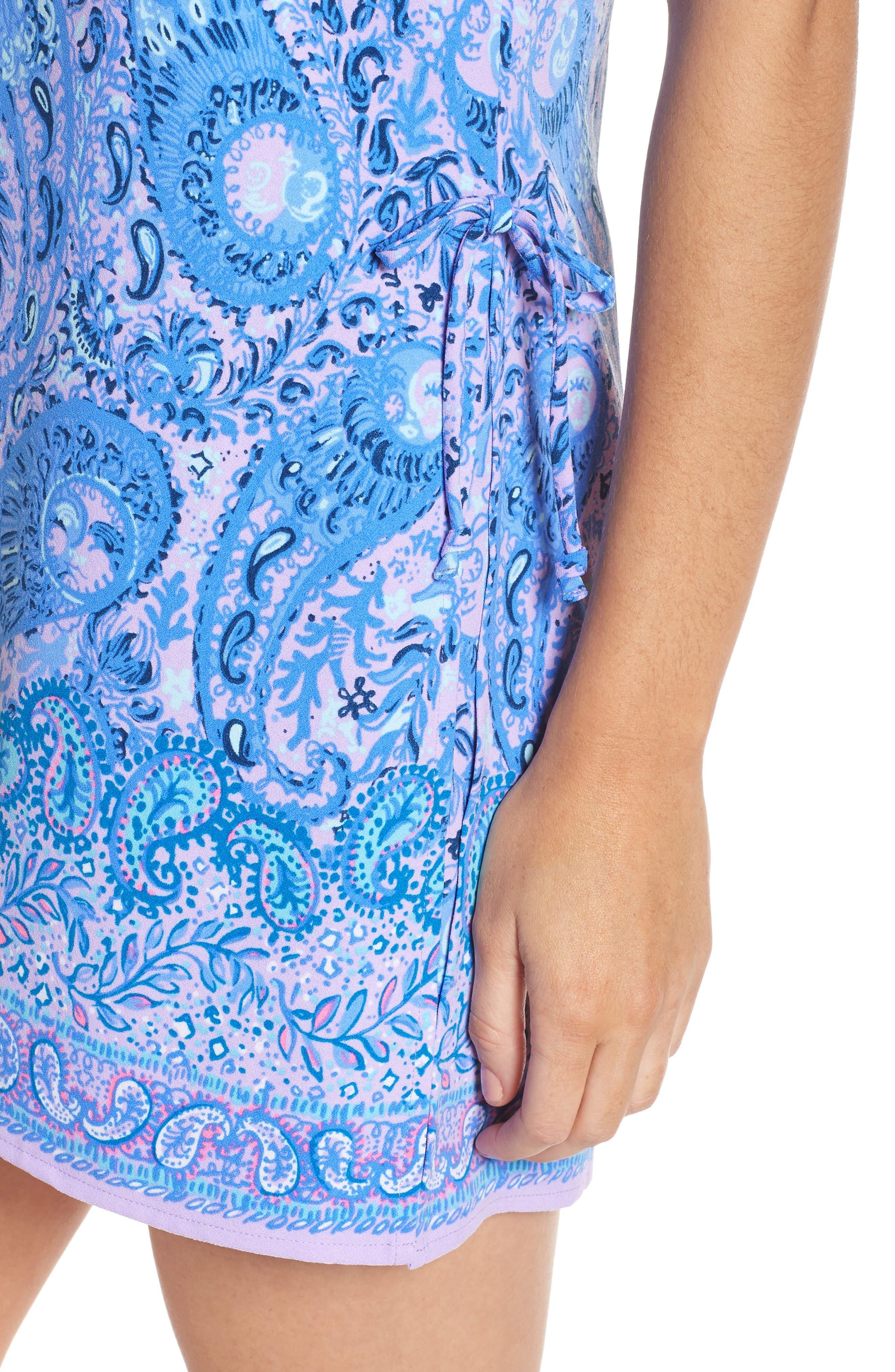 Donna Romper Dress,                             Alternate thumbnail 4, color,                             PURPLE IRIS HELLO SUNSHINE