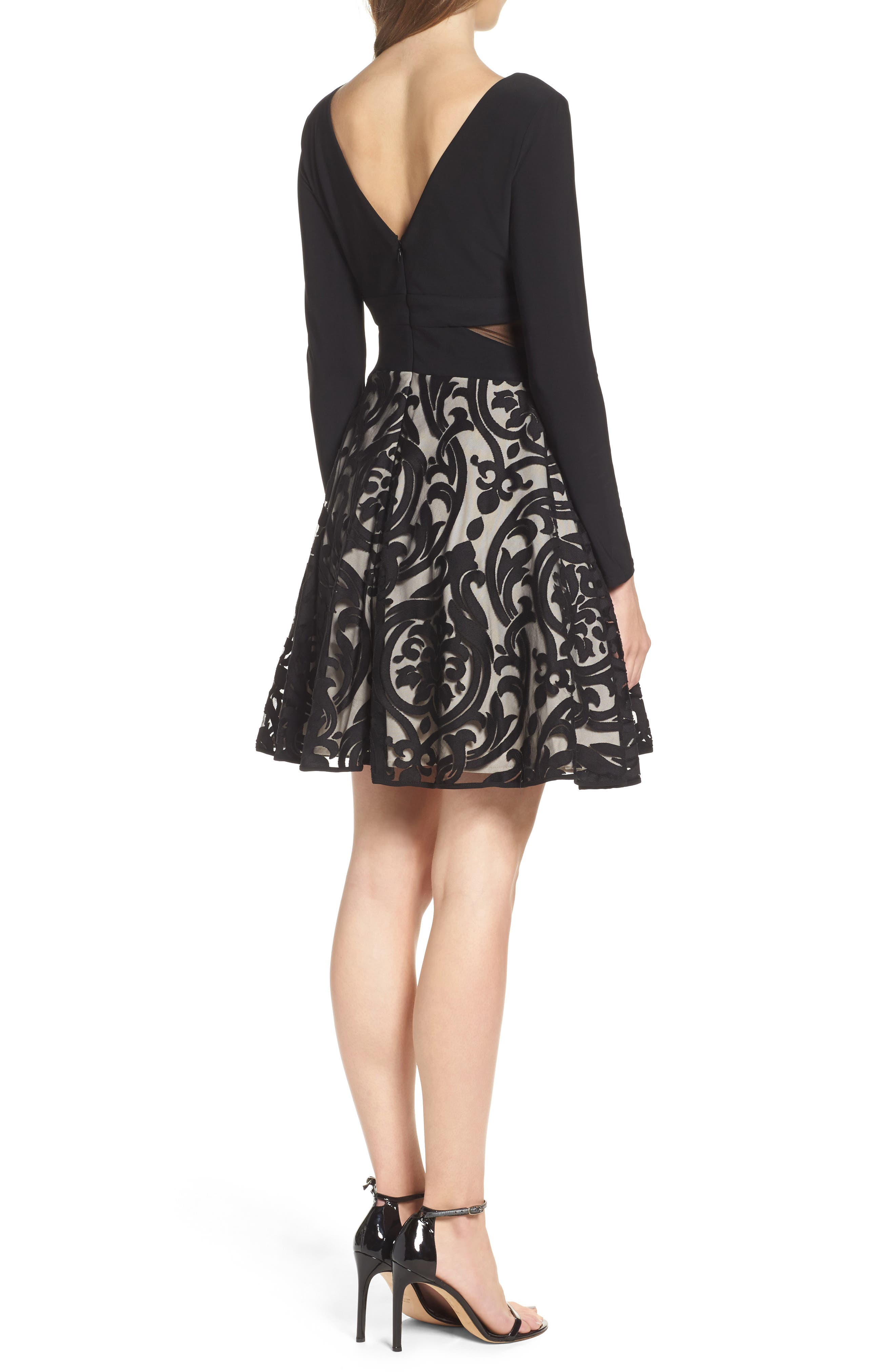 Embroidered Jersey Party Dress,                             Alternate thumbnail 2, color,                             BLACK/ STONE