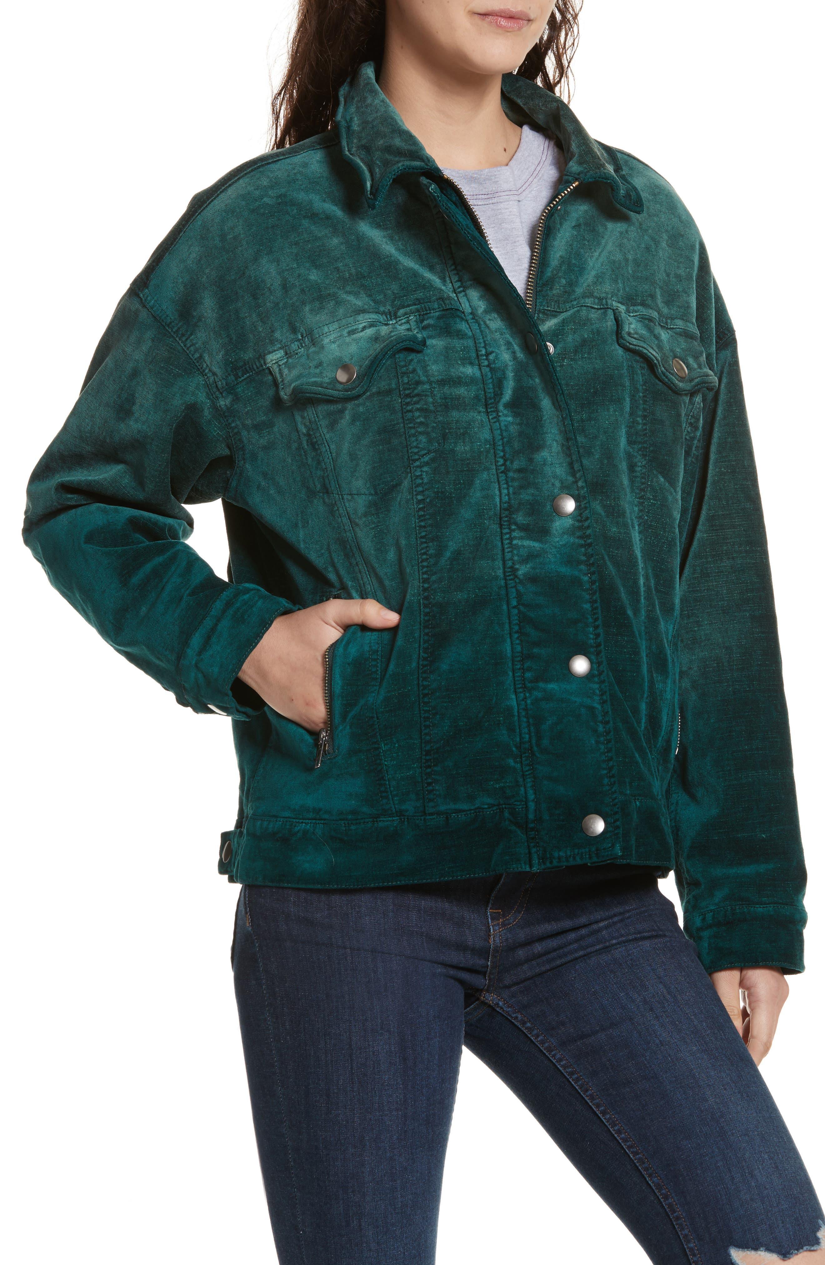 Velvet Trucker Jacket,                             Alternate thumbnail 4, color,                             440