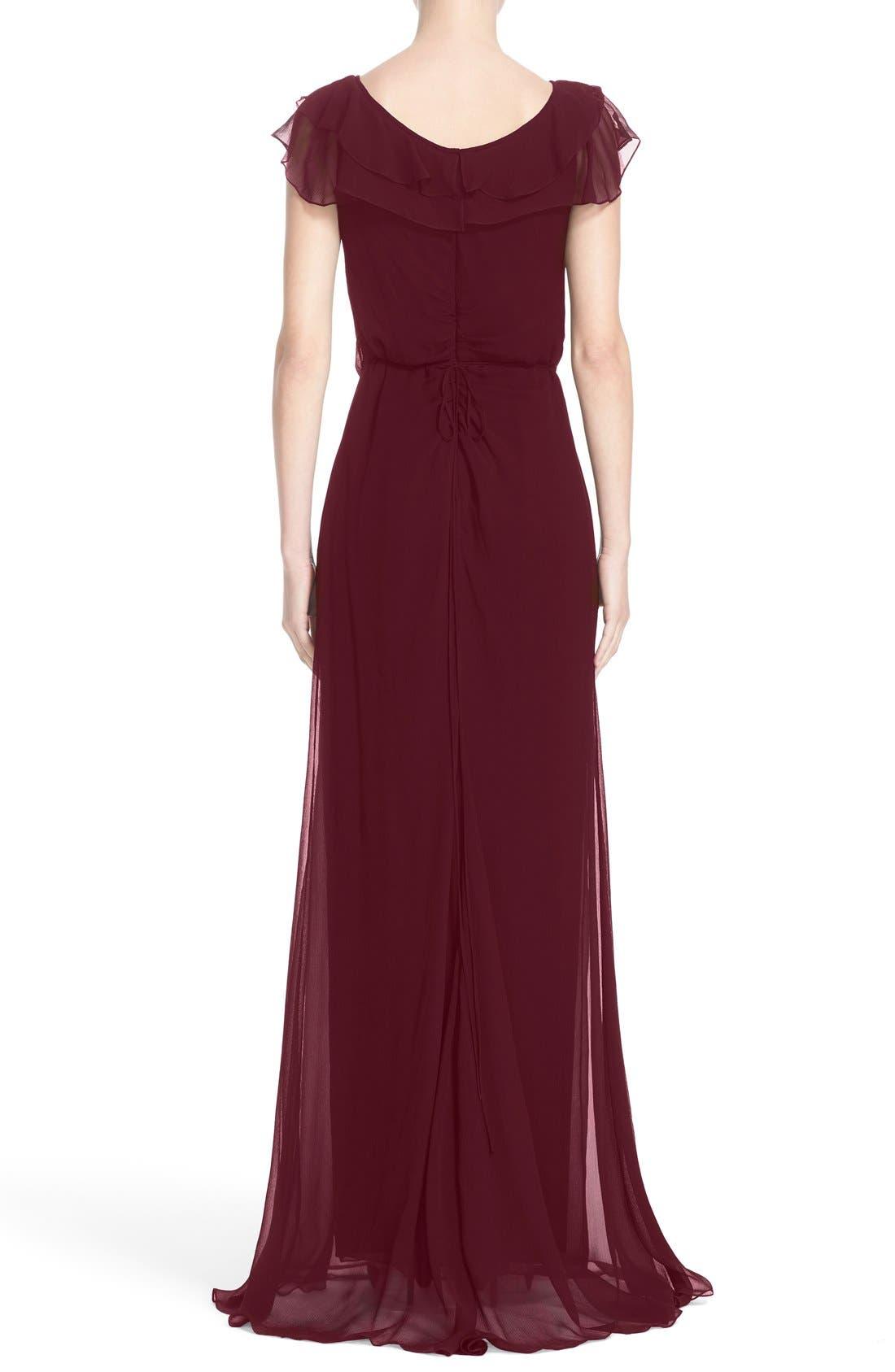 Ruffle Detail Silk Chiffon V-Neck Gown,                             Alternate thumbnail 6, color,