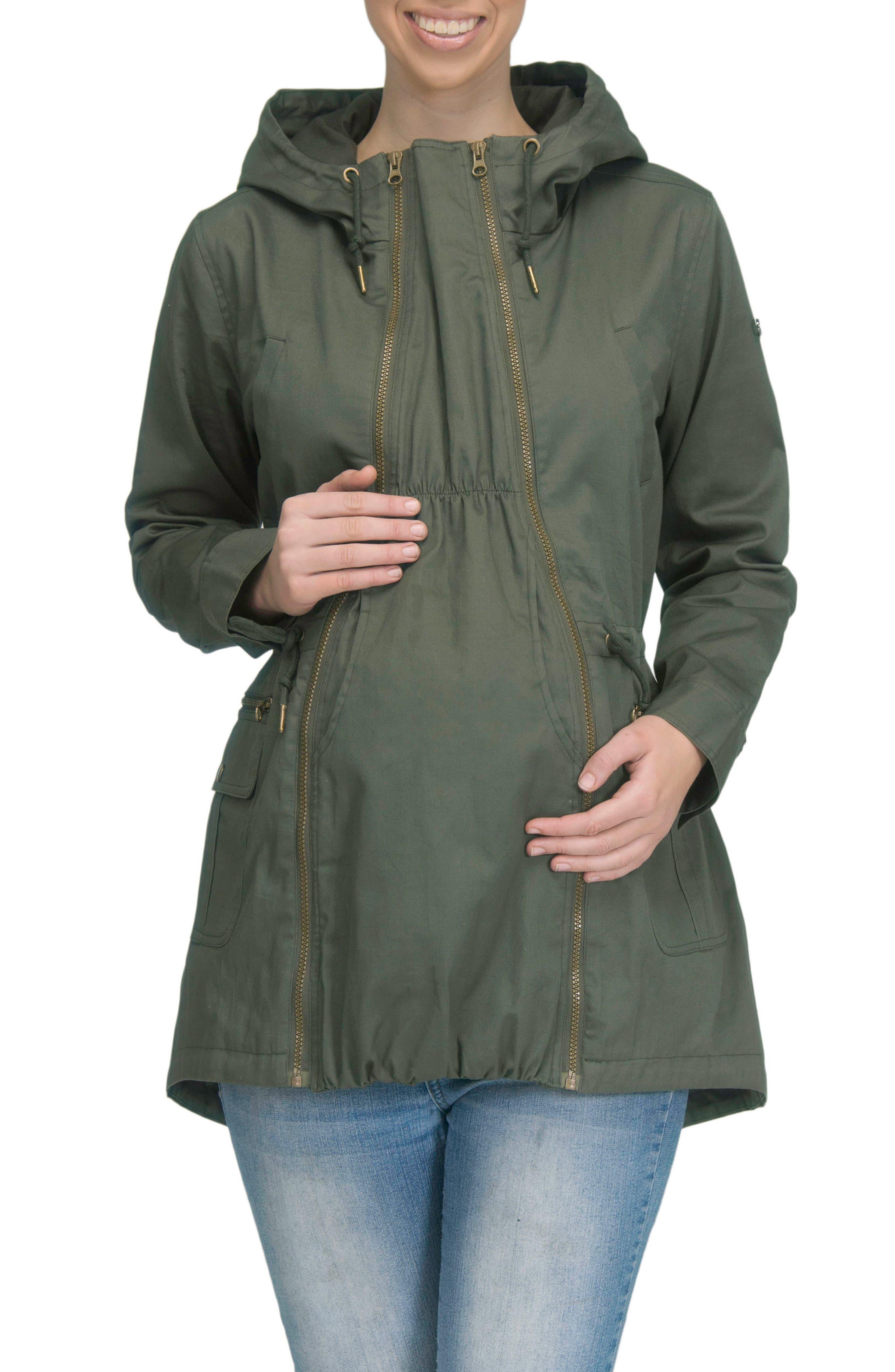 Convertible Military 3-in-1 Maternity/Nursing Jacket,                             Alternate thumbnail 2, color,                             KHAKI GREEN