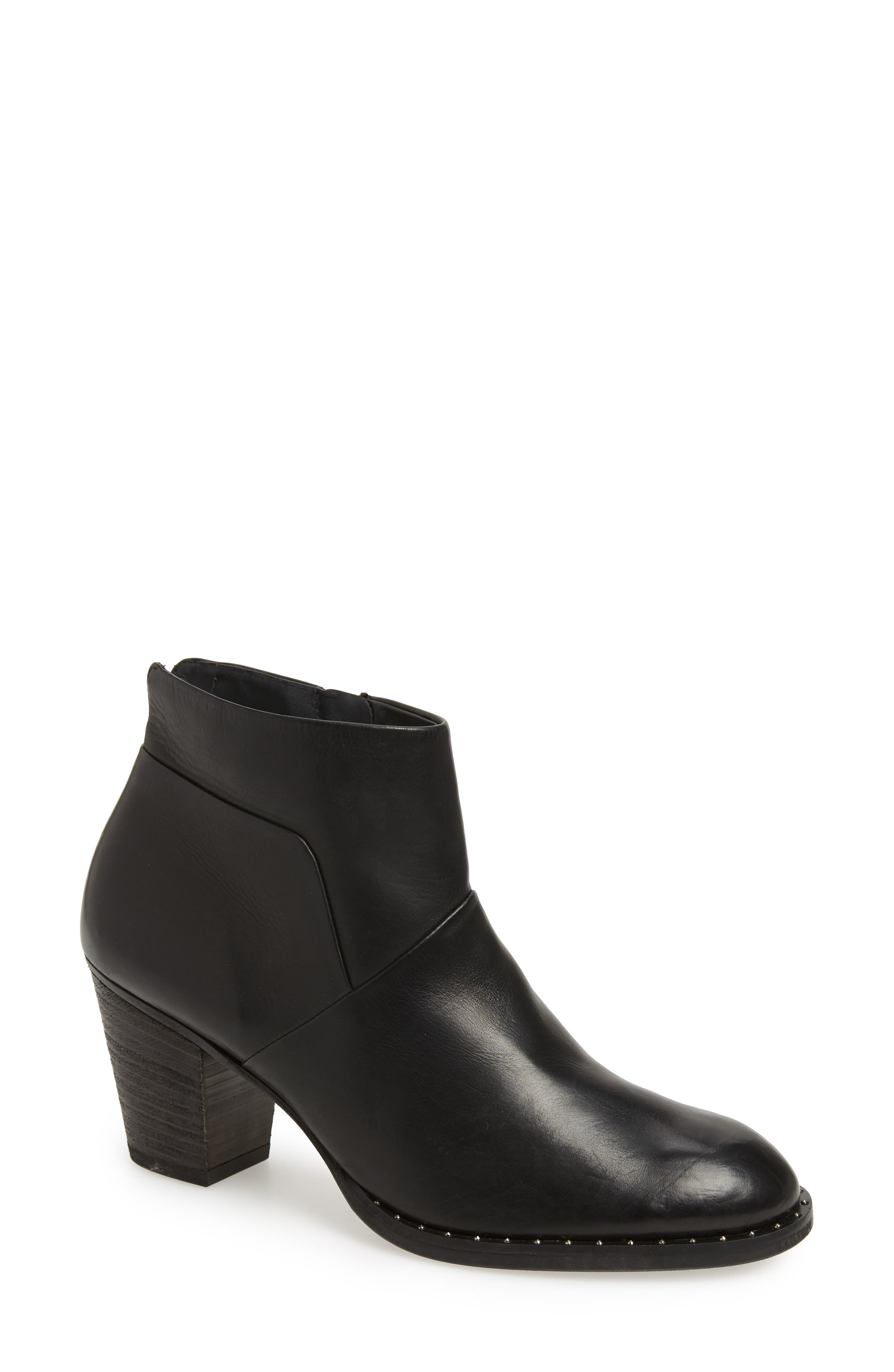 Stella Bootie,                         Main,                         color, BLACK LEATHER