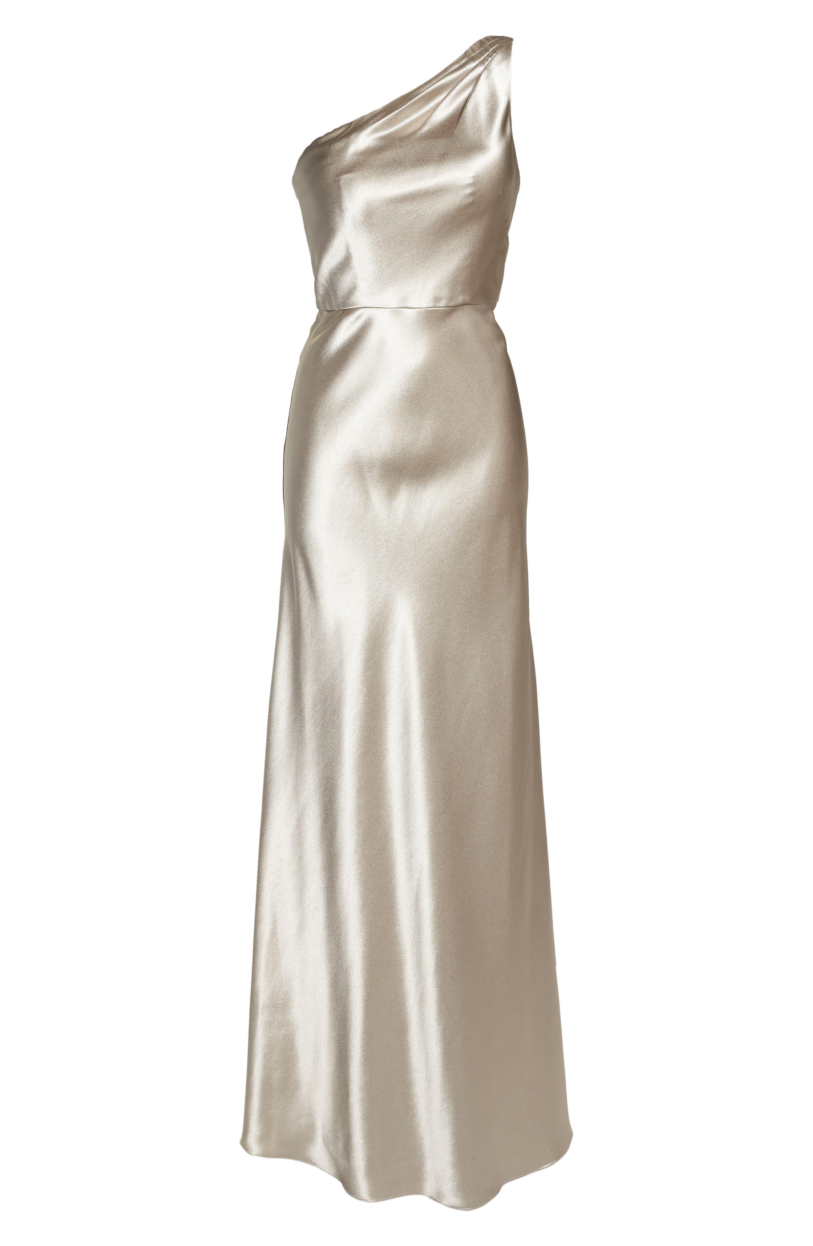 Lena One-Shoulder Crepe Back Satin Gown,                             Alternate thumbnail 7, color,                             253