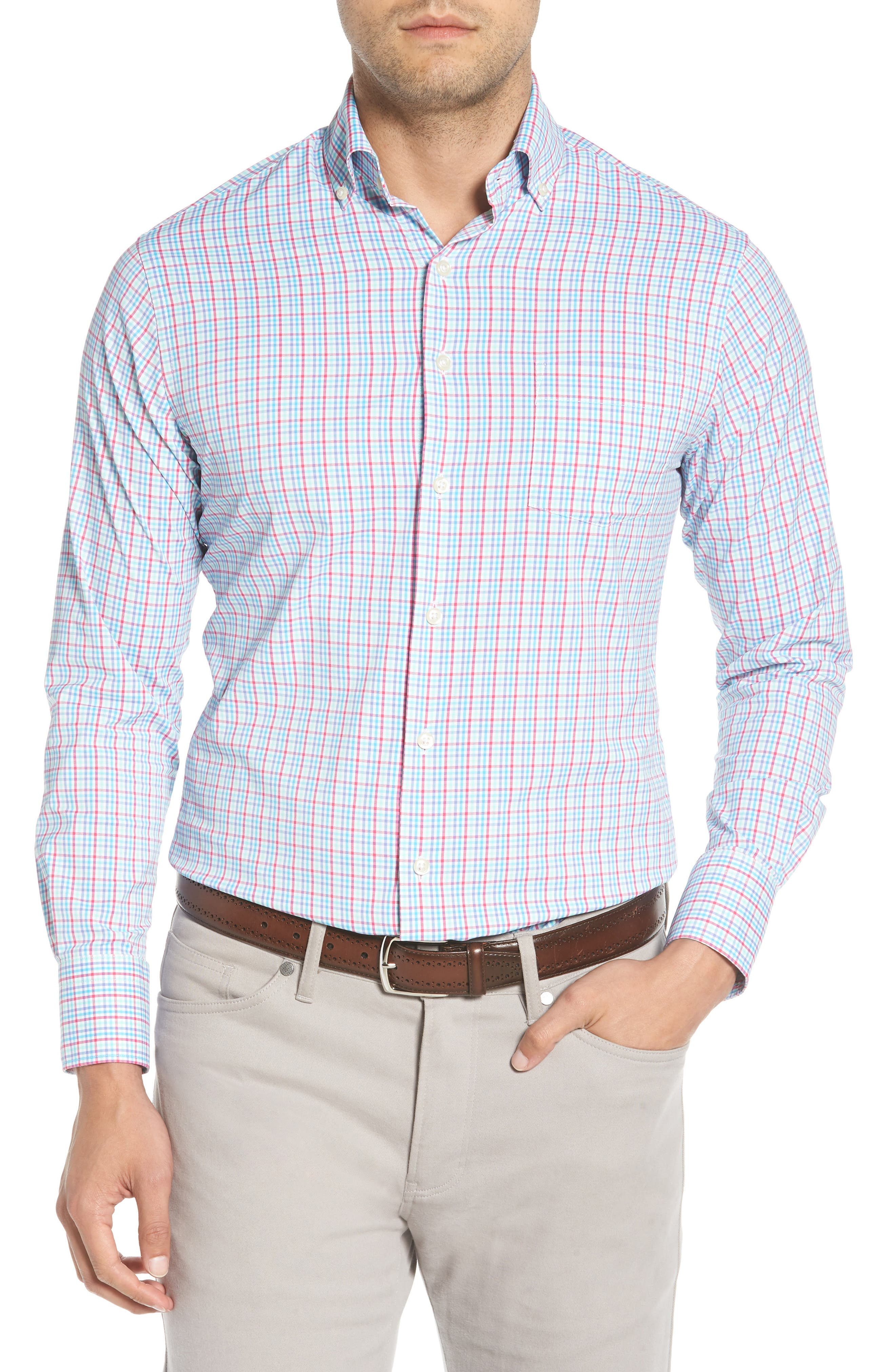 PETER MILLAR Smedes Regular Fit Check Performance Sport Shirt, Main, color, 100