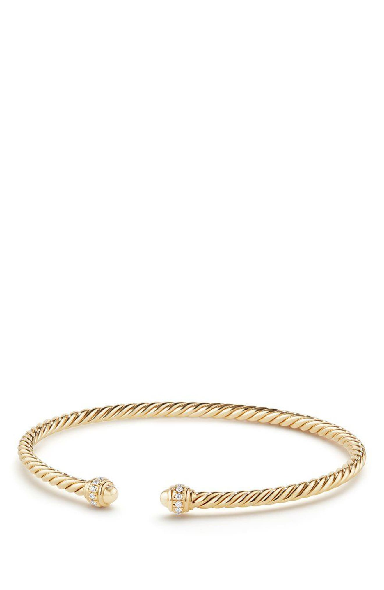 Cable Spira Bracelet in 18K Gold with Diamonds, 3mm,                             Main thumbnail 1, color,                             GOLD/ DIAMOND
