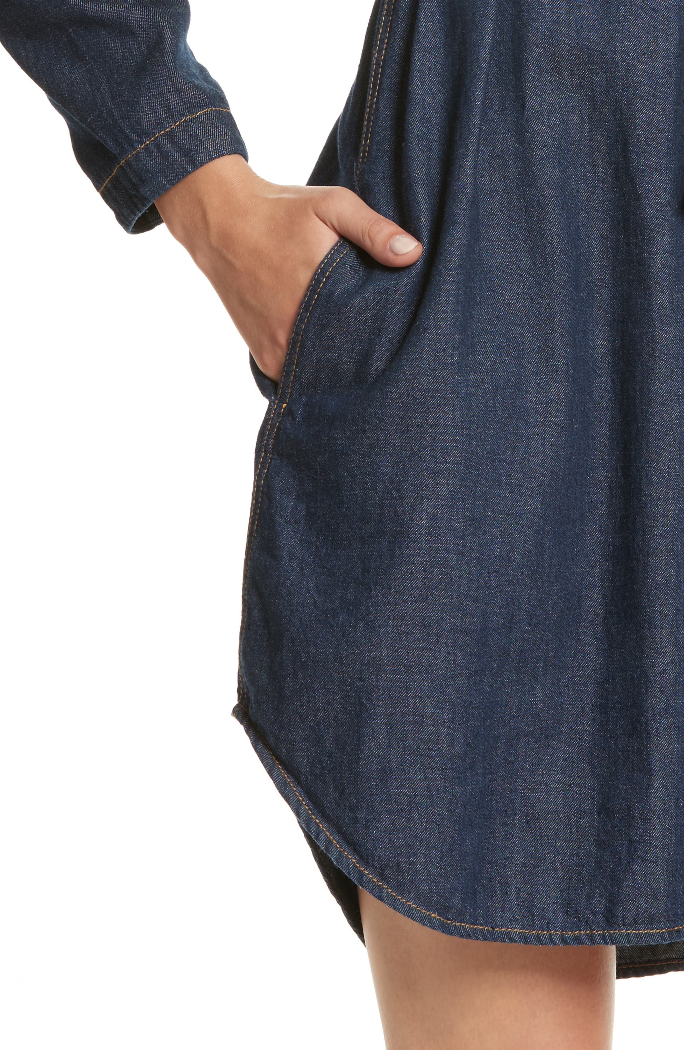 Belted Denim Dress,                             Alternate thumbnail 4, color,                             409