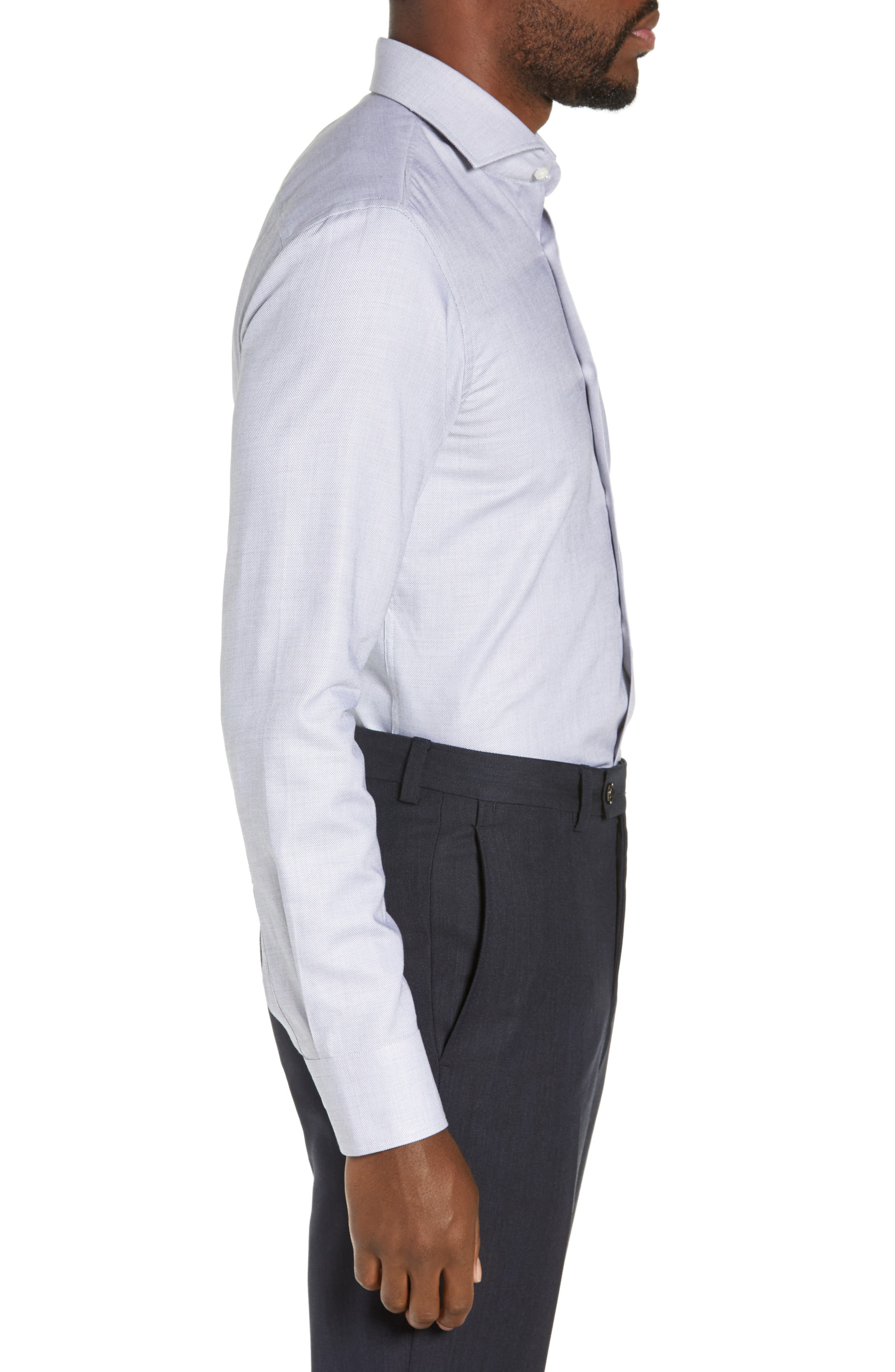 Jason Trim Fit Solid Dress Shirt,                             Alternate thumbnail 4, color,                             BLACK