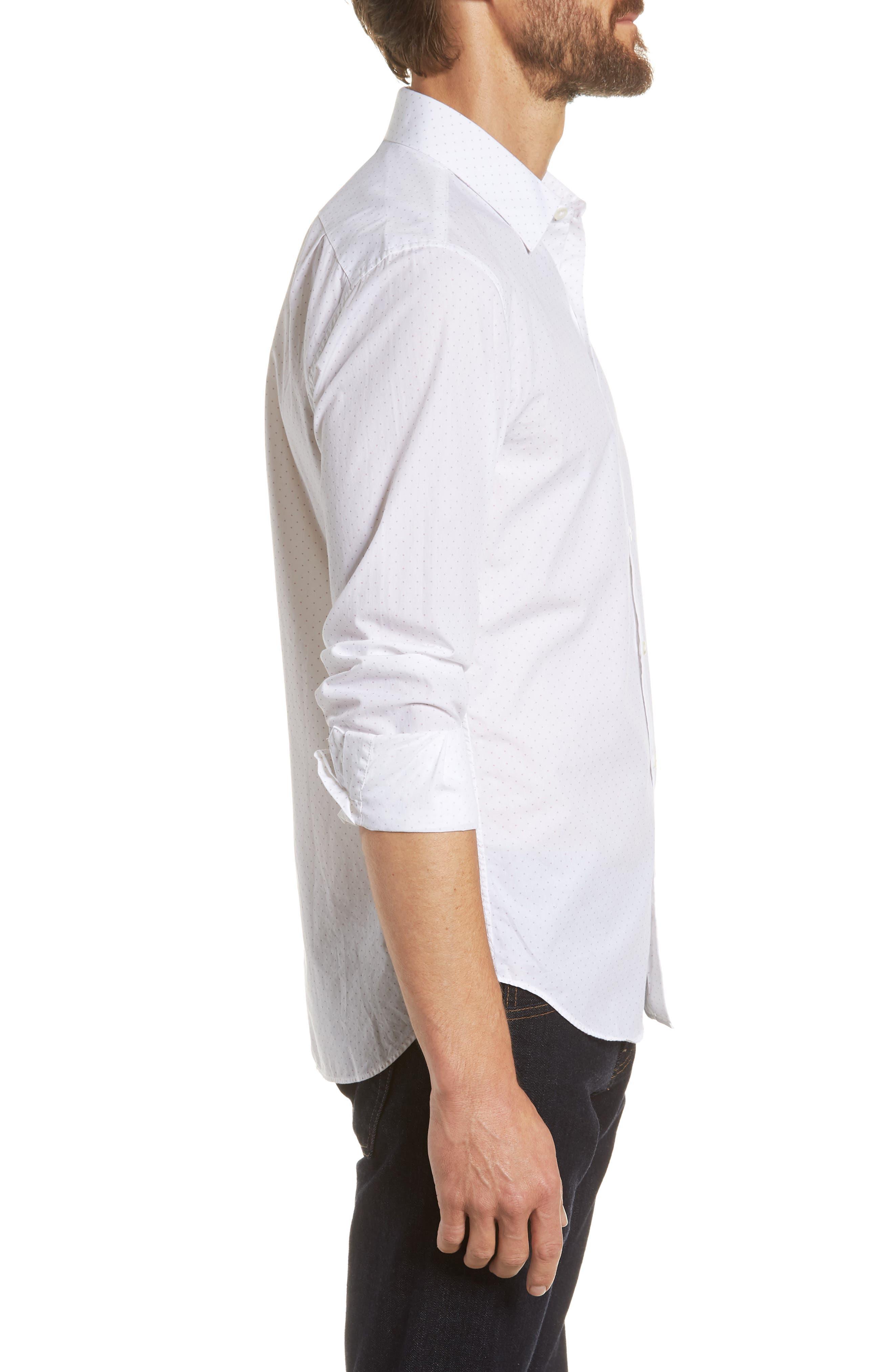 Unbutton Down Slim Fit Dot Sport Shirt,                             Alternate thumbnail 3, color,                             100
