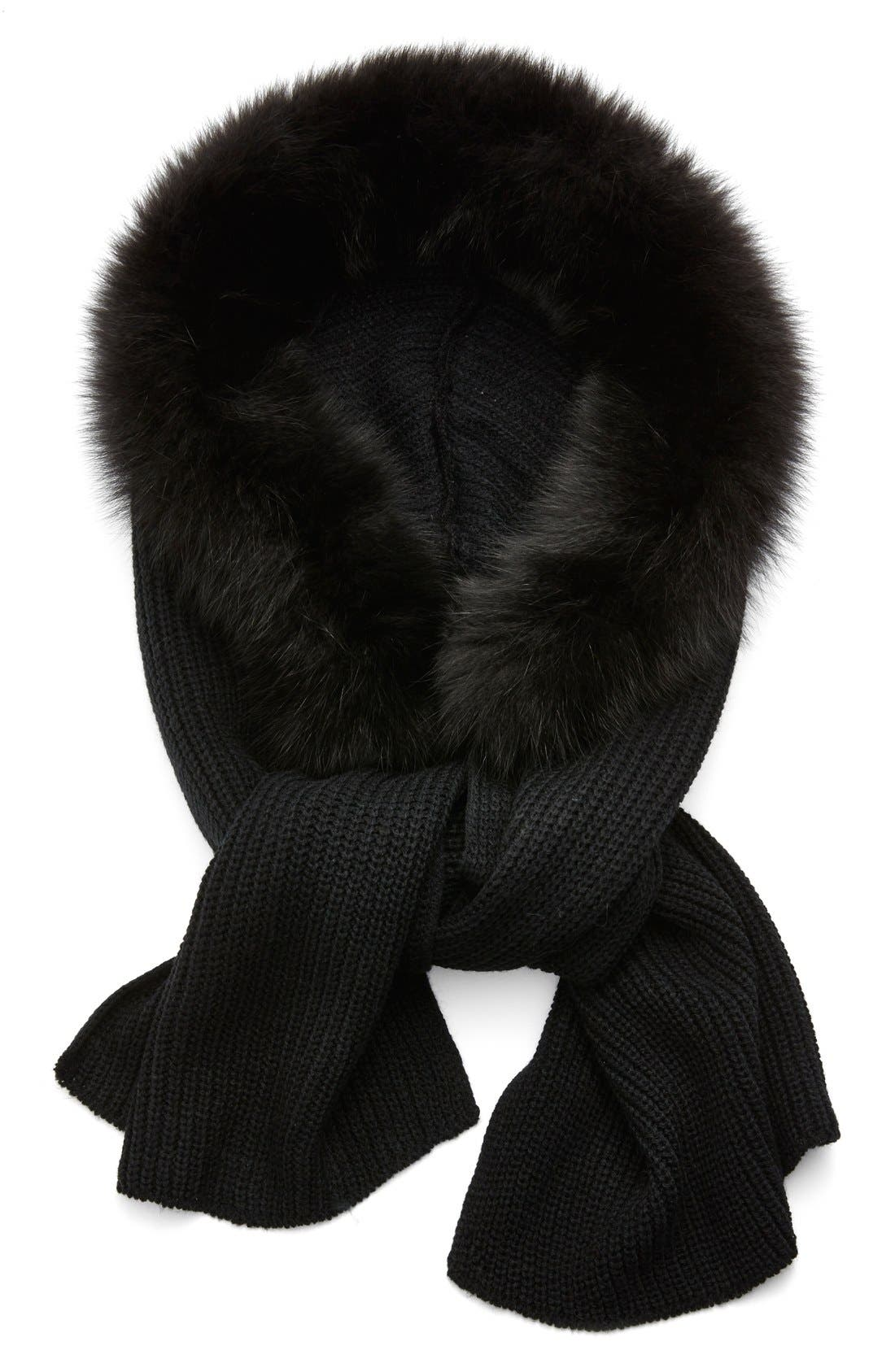 Hooded Scarf with Genuine Fox Fur Trim,                             Main thumbnail 1, color,                             001