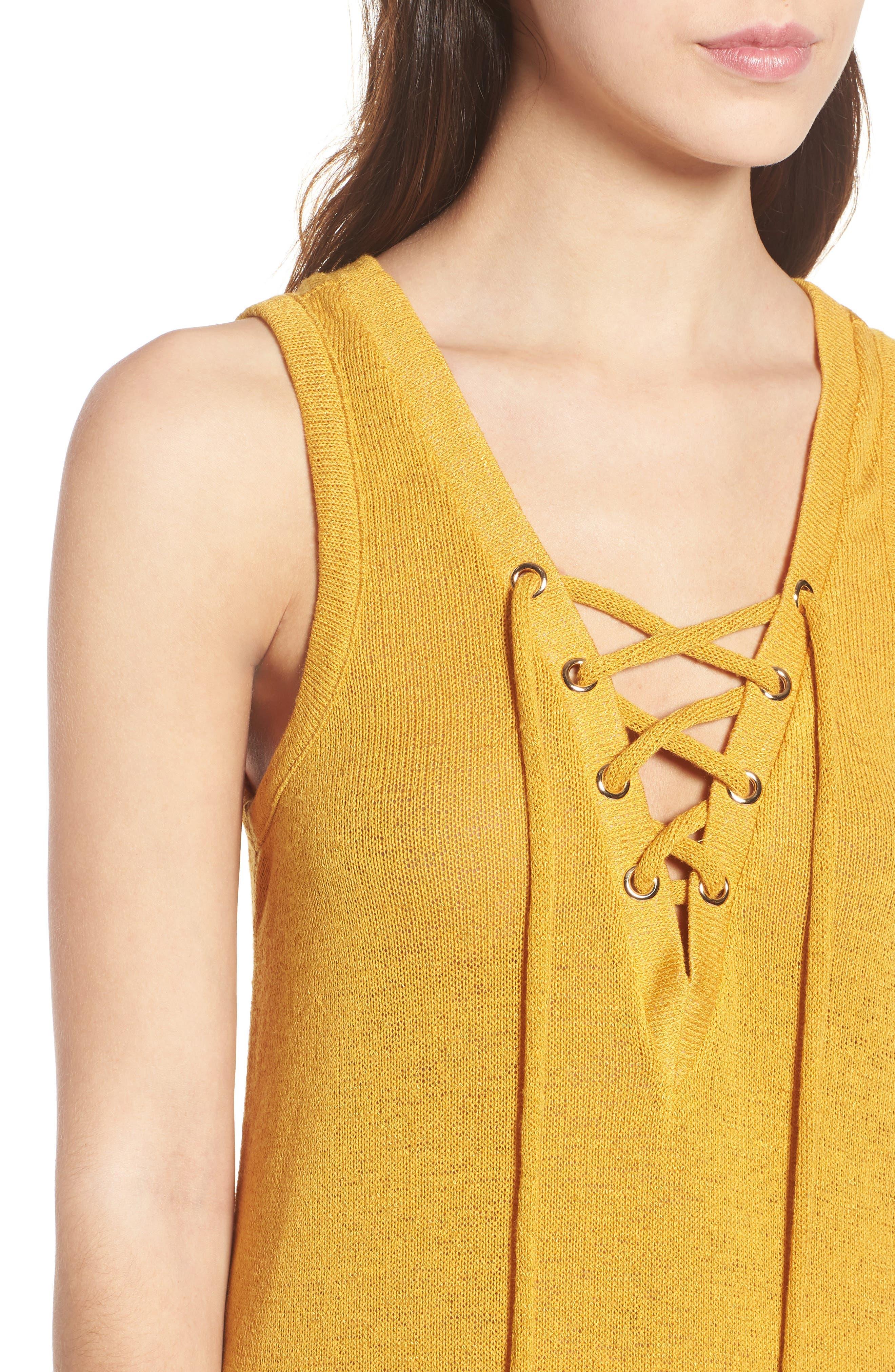 Heat Rising Lace-Up Dress,                             Alternate thumbnail 4, color,                             701