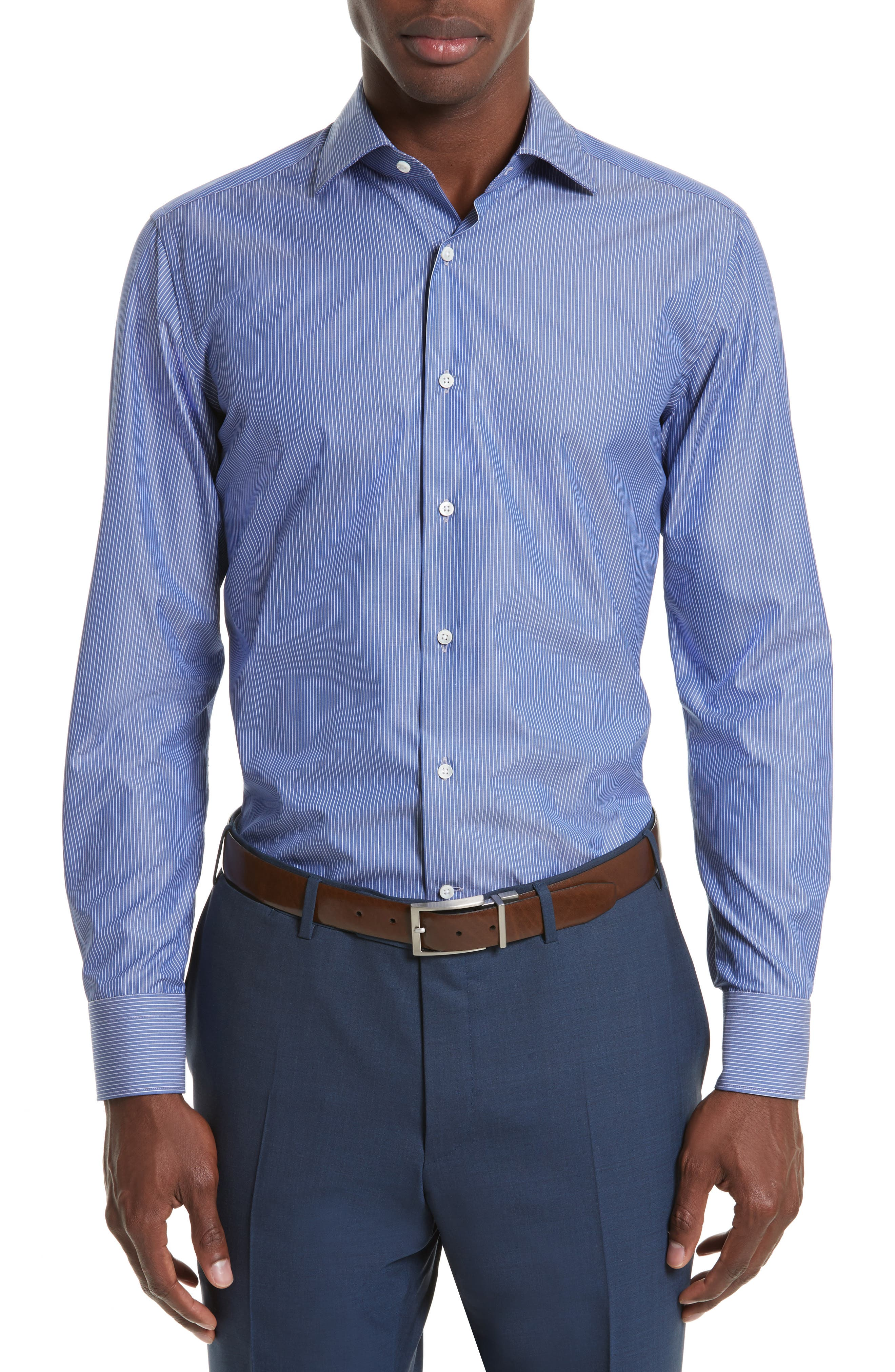 Regular Fit Stripe Dress Shirt,                         Main,                         color, 420