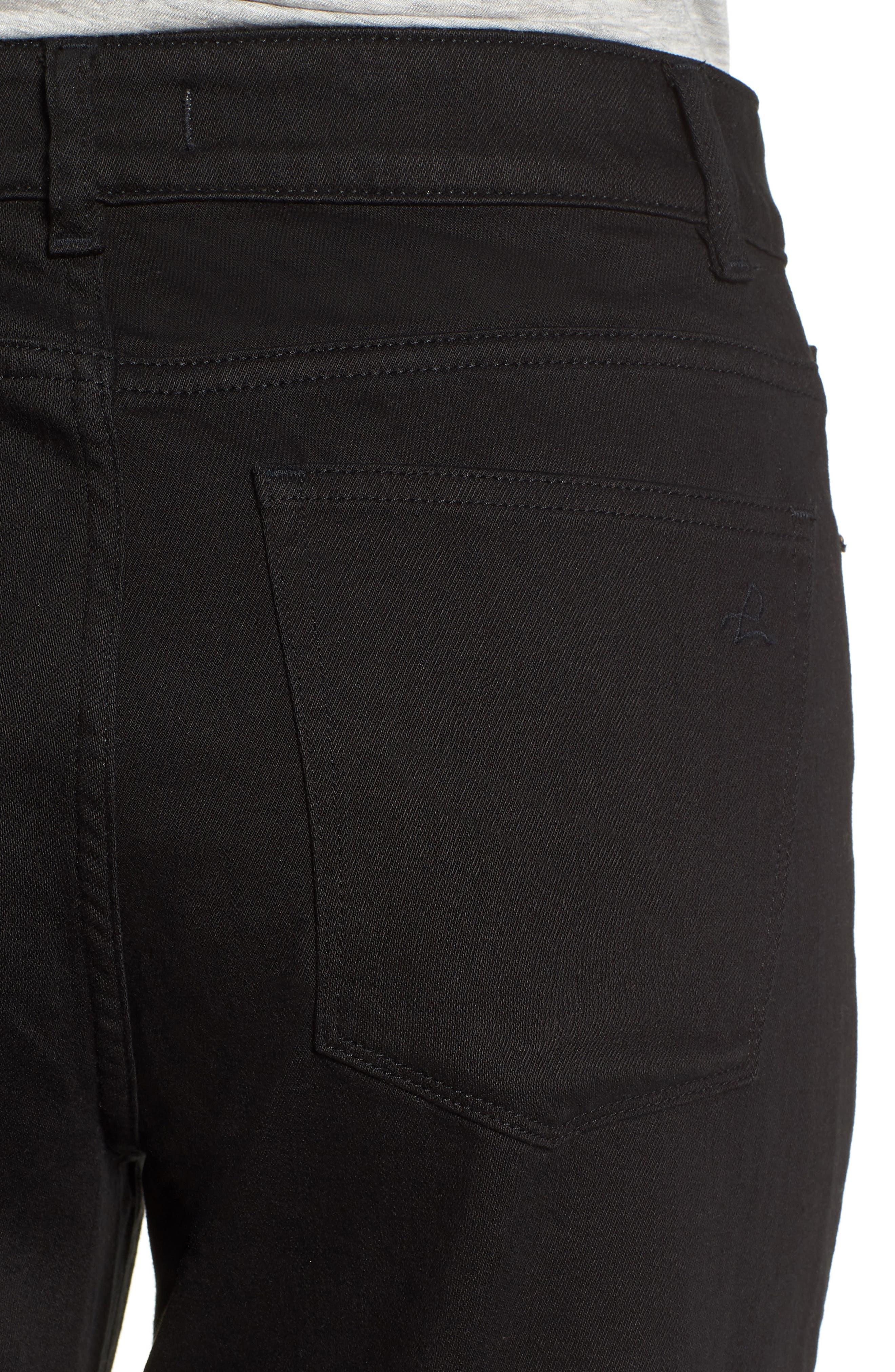 Hepburn High Waist Raw Hem Wide Leg Jeans,                             Alternate thumbnail 4, color,                             001