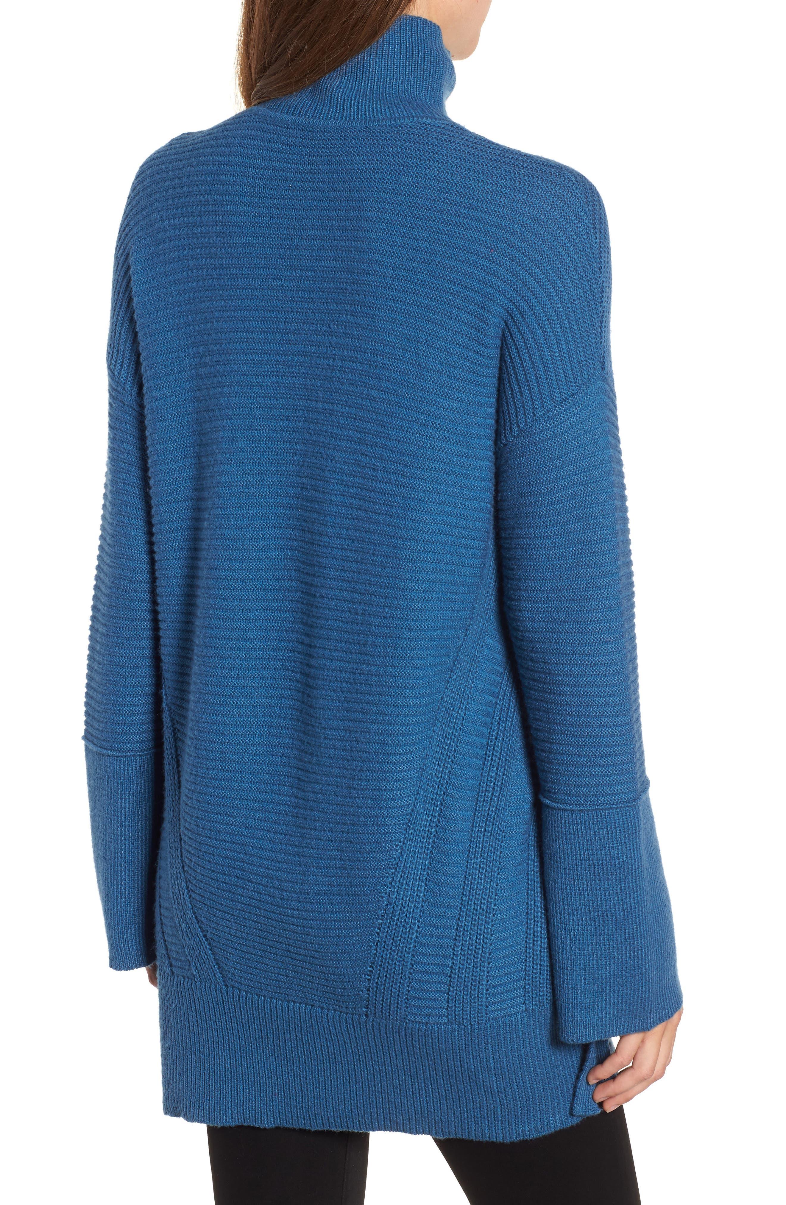 Ribbed Turtleneck Tunic Sweater,                             Alternate thumbnail 2, color,                             BLUE DARK