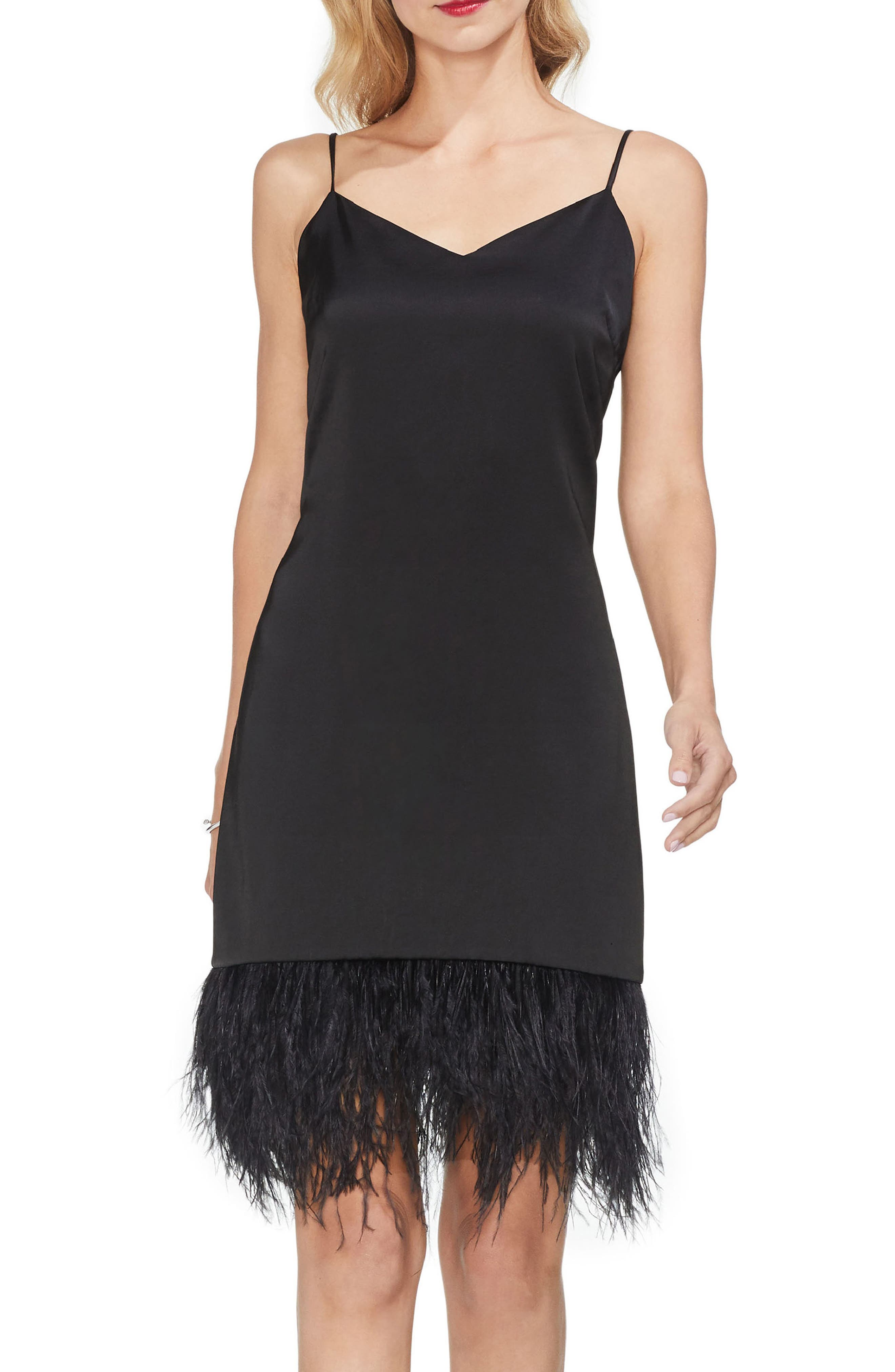 Feather Hem Satin Slipdress,                         Main,                         color, RICH BLACK
