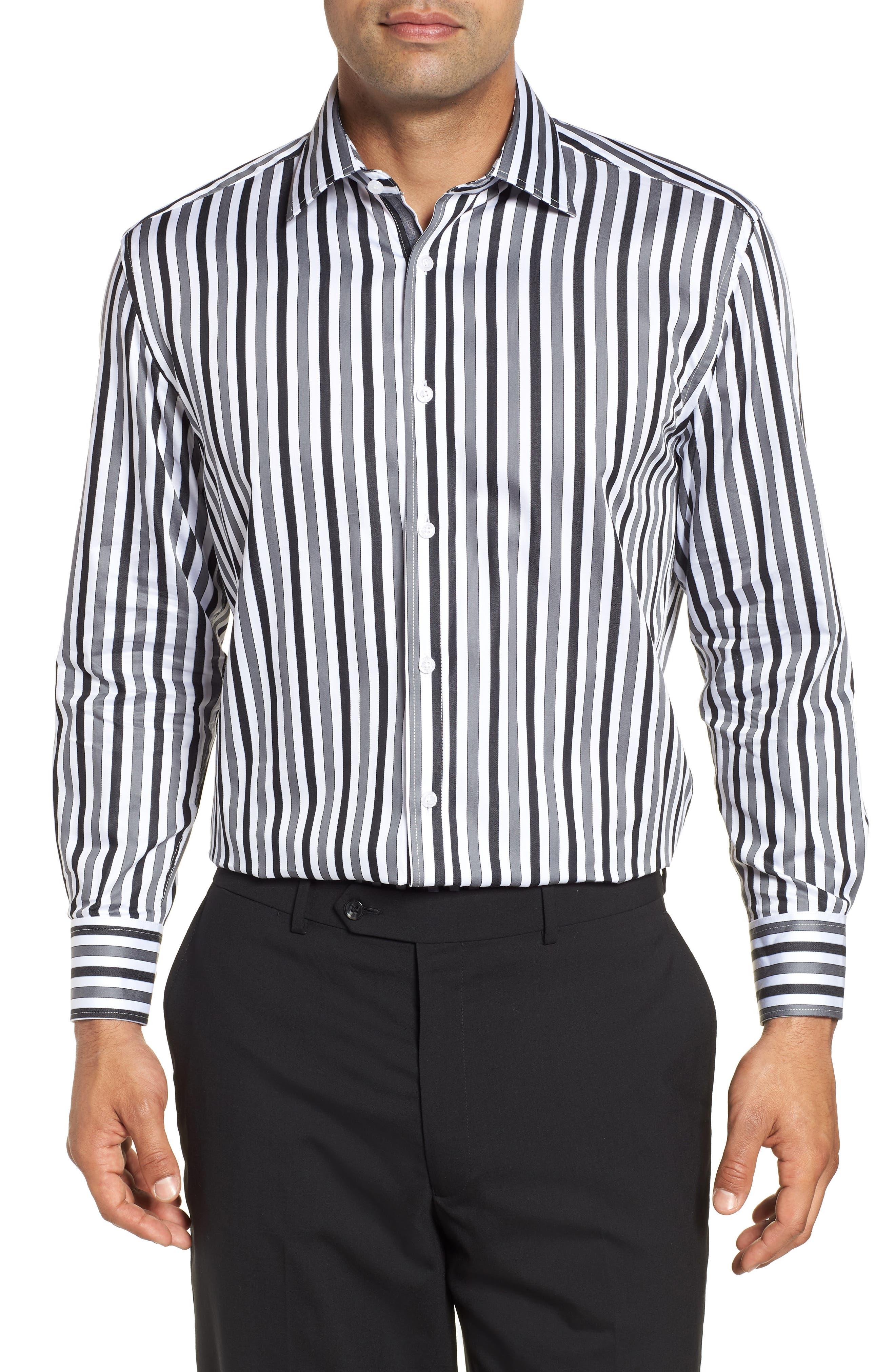 Regular Fit Stripe Dress Shirt,                         Main,                         color, BLACK