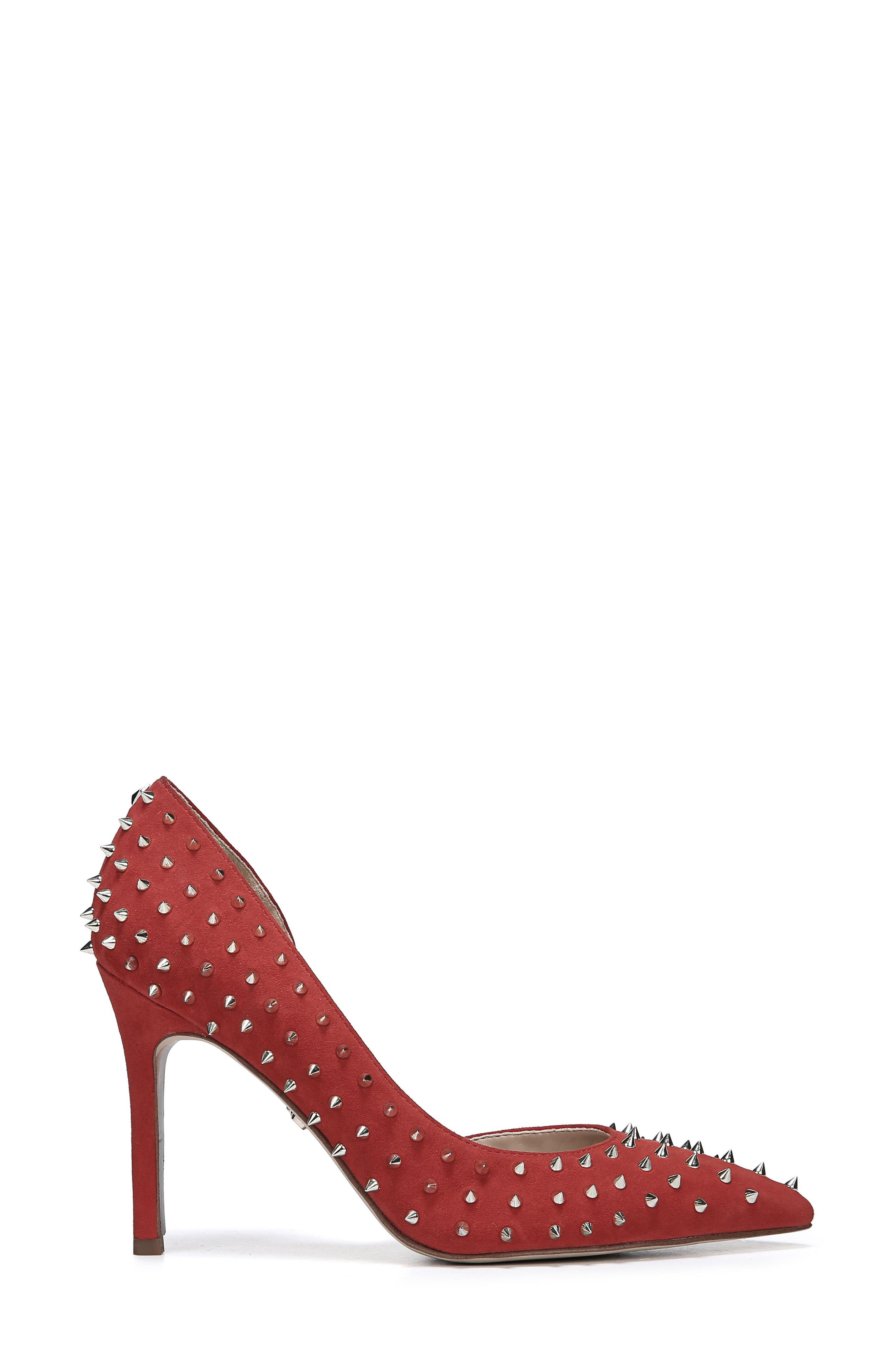 Hadlee d'Orsay Pump,                             Alternate thumbnail 3, color,                             RED SUEDE