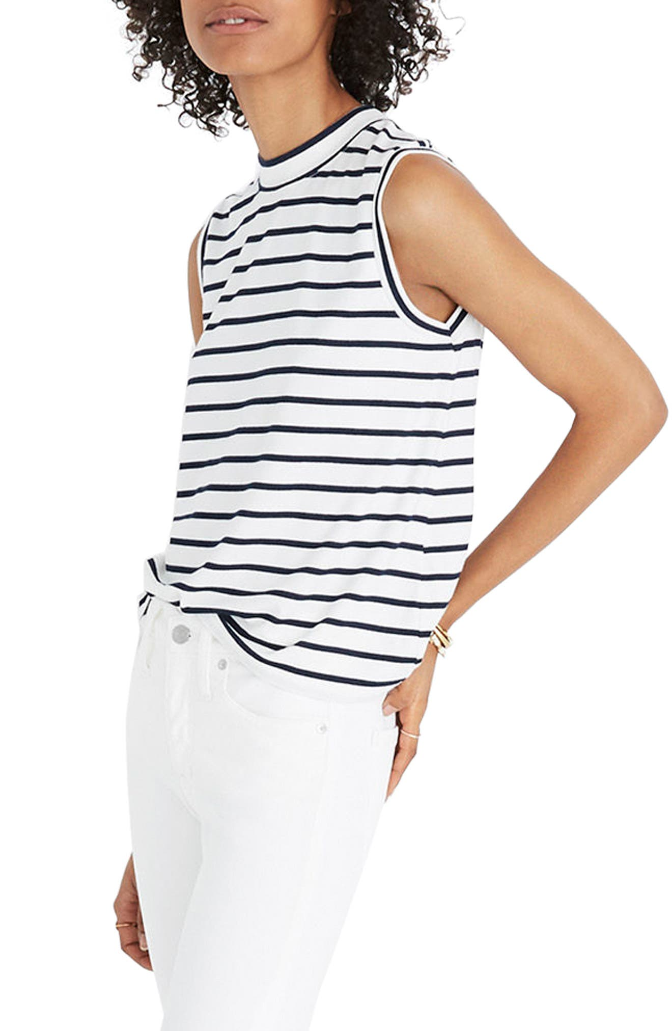 Stripe Mock Neck Tank,                         Main,                         color, 100