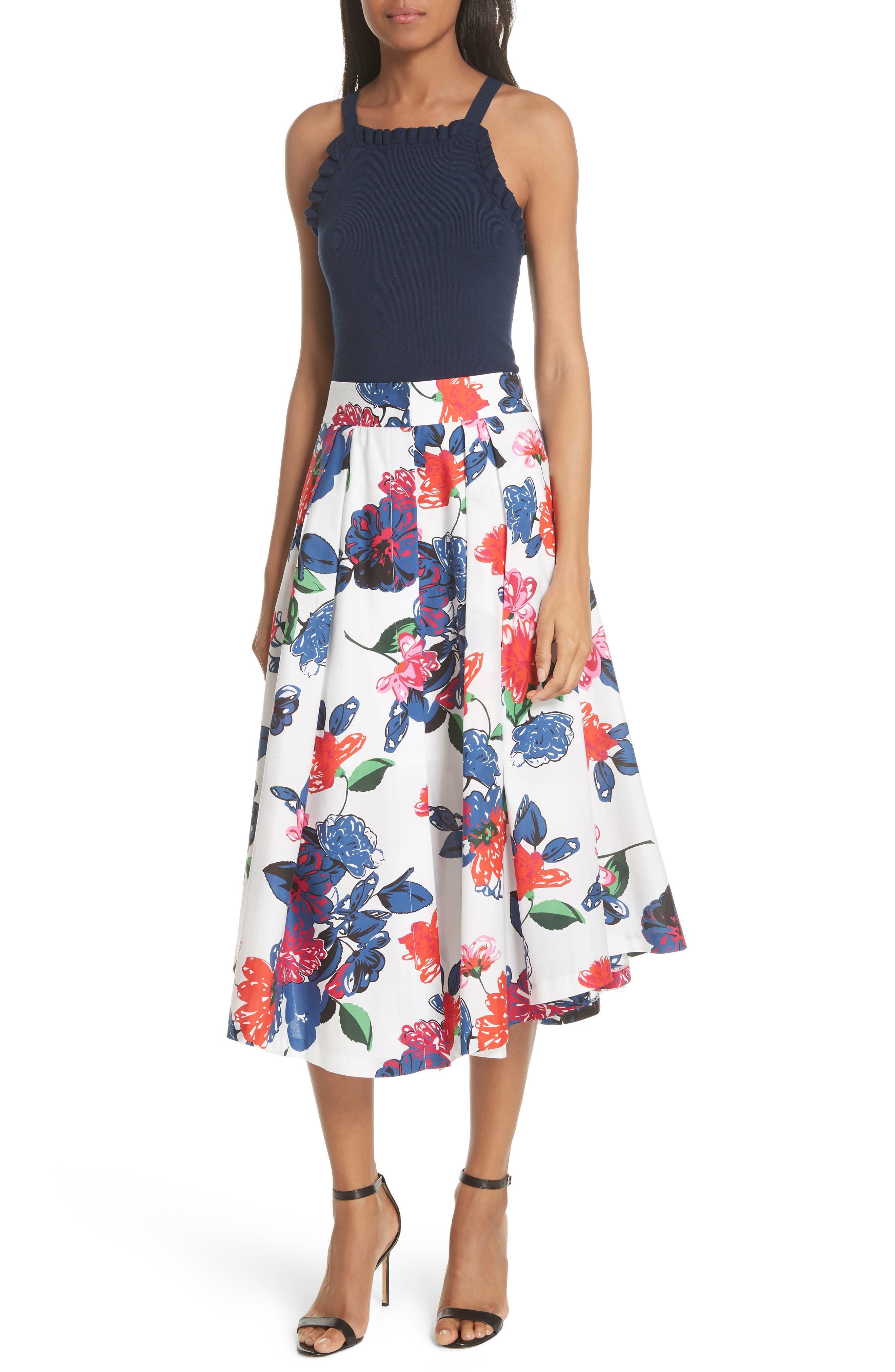 Floral Print Stretch Cotton Skirt,                             Alternate thumbnail 7, color,                             164
