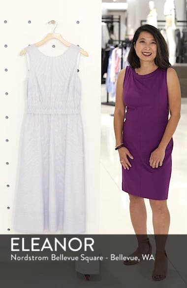Smocked Waist Pinstripe Midi Dress, sales video thumbnail