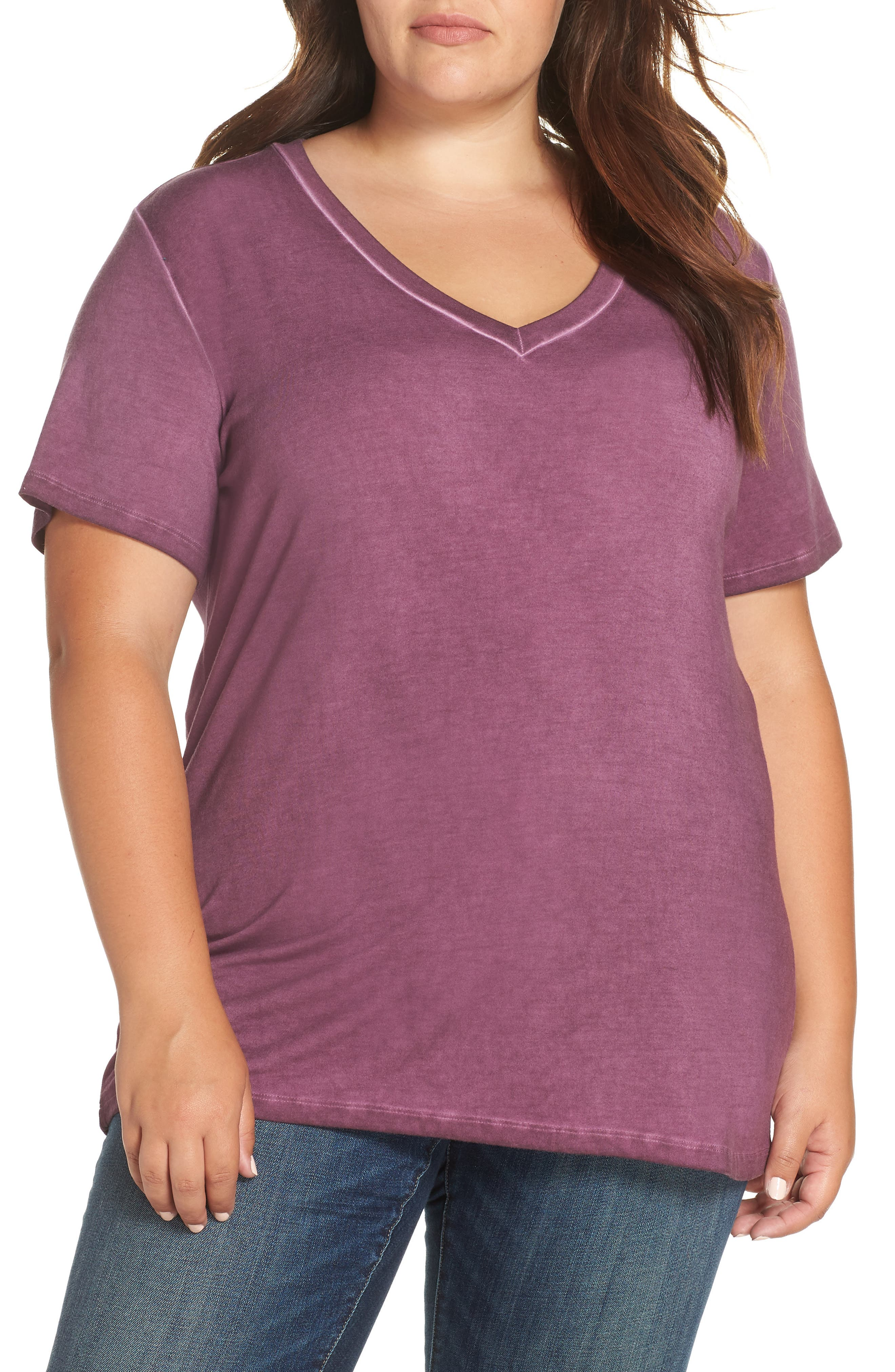 Garment Dyed V-Neck Tee, Main, color, POTENT PURPLE