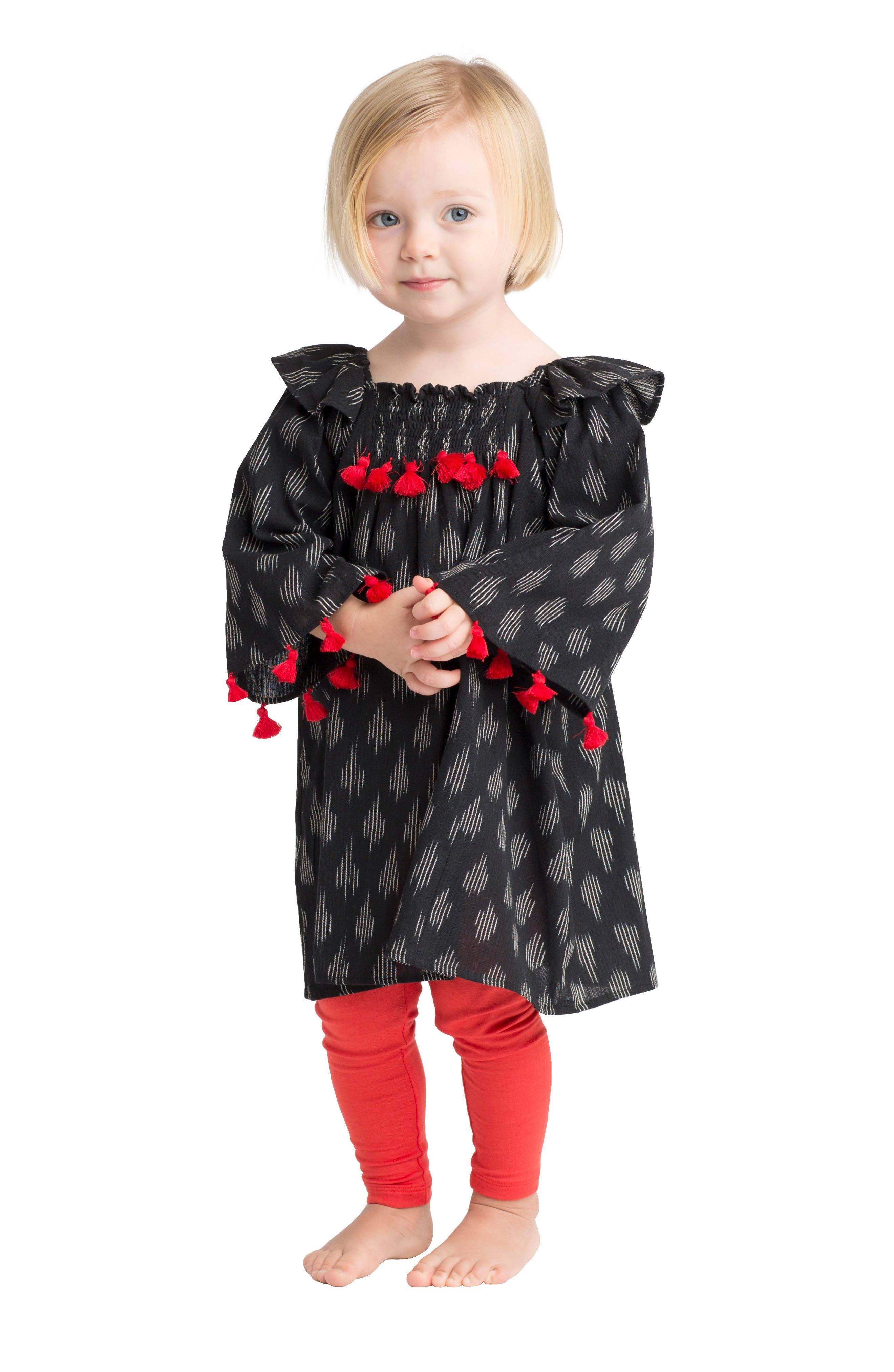 Ekta Tassel Trim Dress,                             Alternate thumbnail 5, color,                             001
