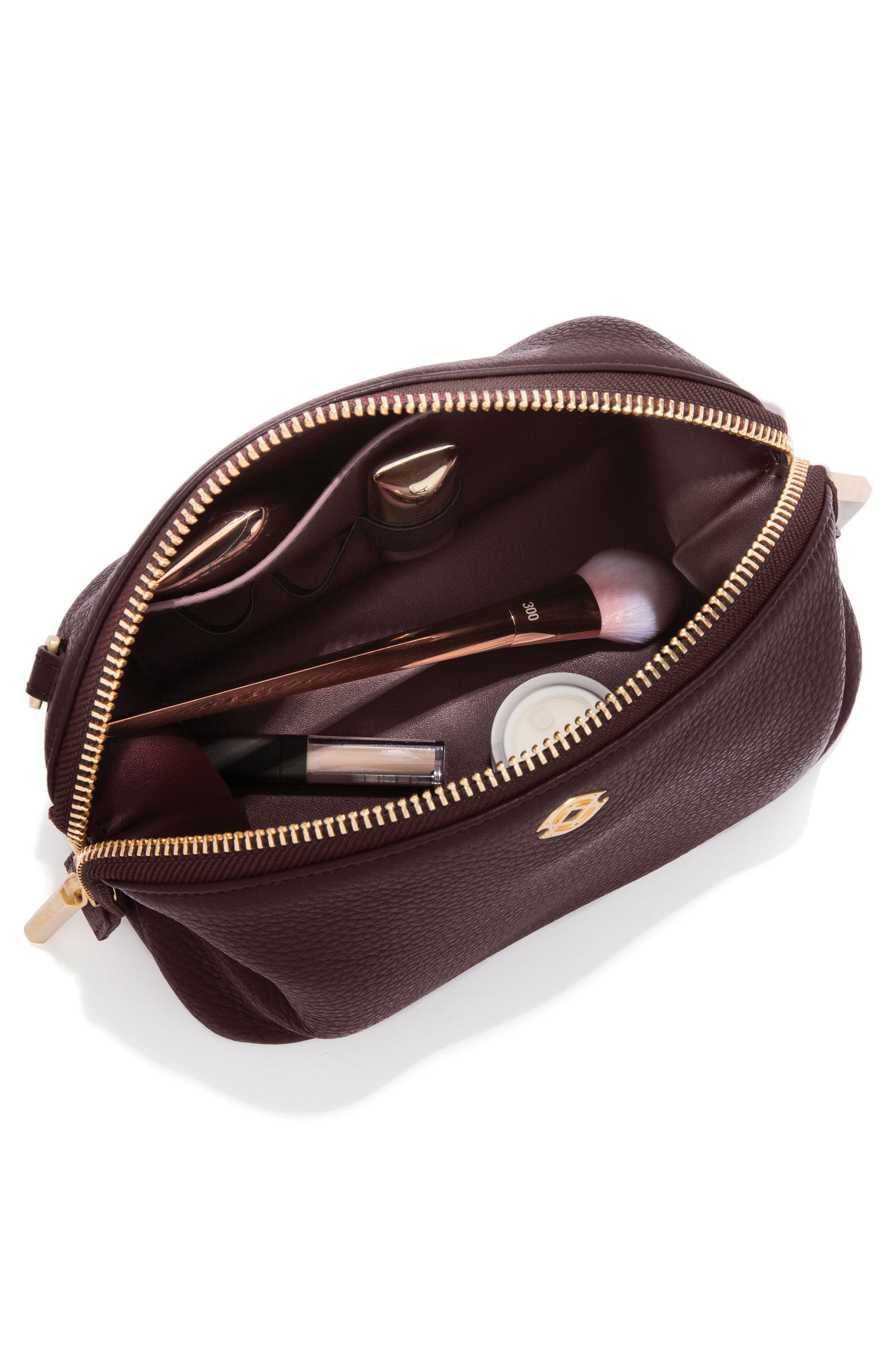 Large Lola Leather Cosmetics Pouch,                             Alternate thumbnail 4, color,                             OXBLOOD