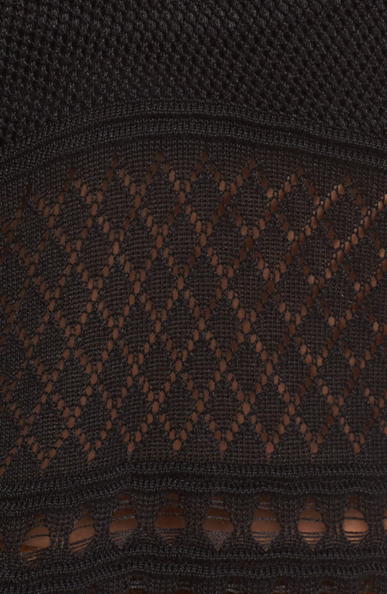 Annabel Cold Shoulder Pointelle Sweater,                             Alternate thumbnail 5, color,                             001