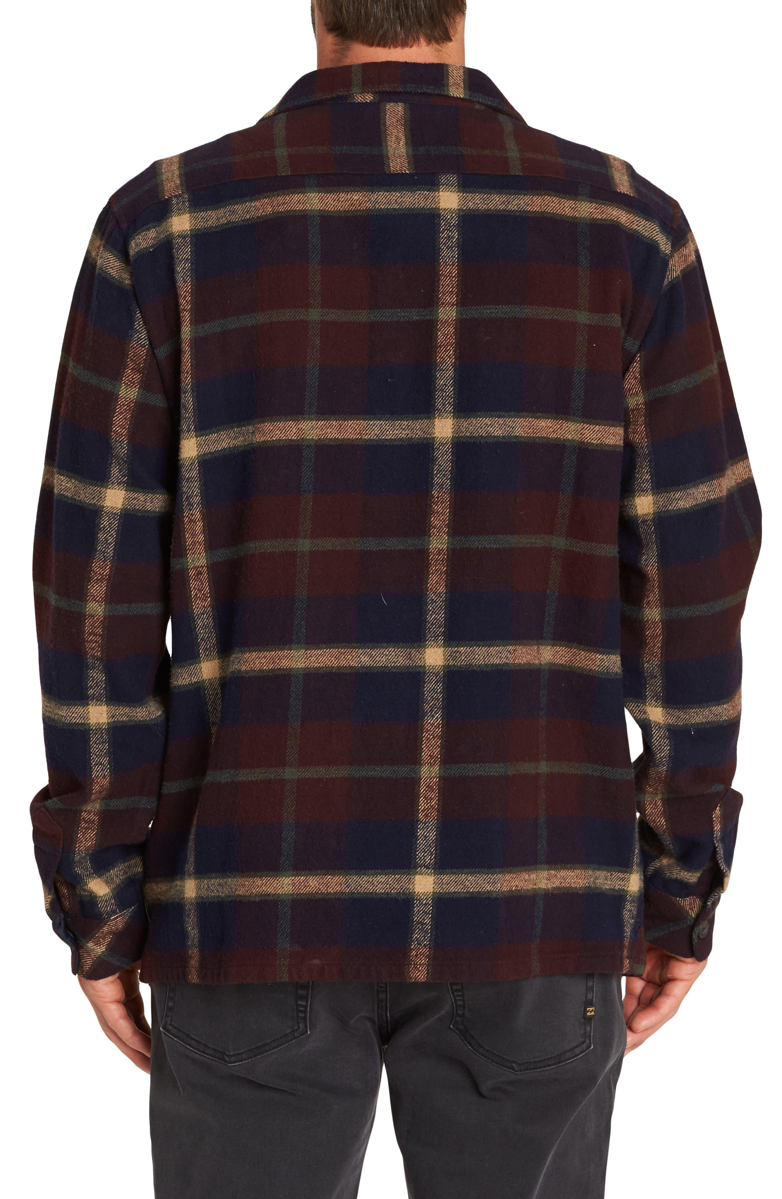 BILLABONG,                             The Point Plaid Flannel Shirt Jacket,                             Alternate thumbnail 2, color,                             NAVY