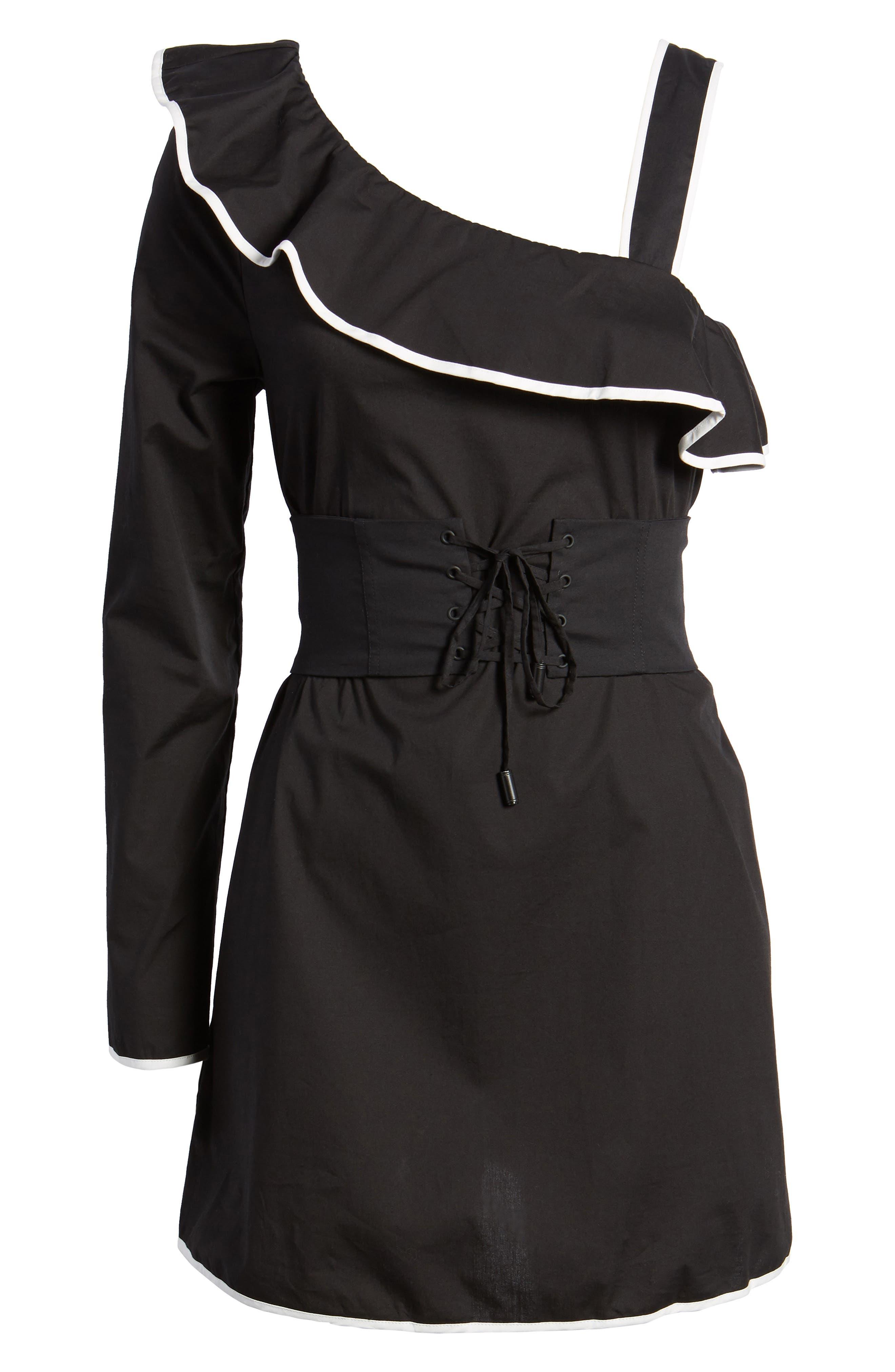 Helen One-Shoulder Ruffle Dress,                             Alternate thumbnail 6, color,                             001