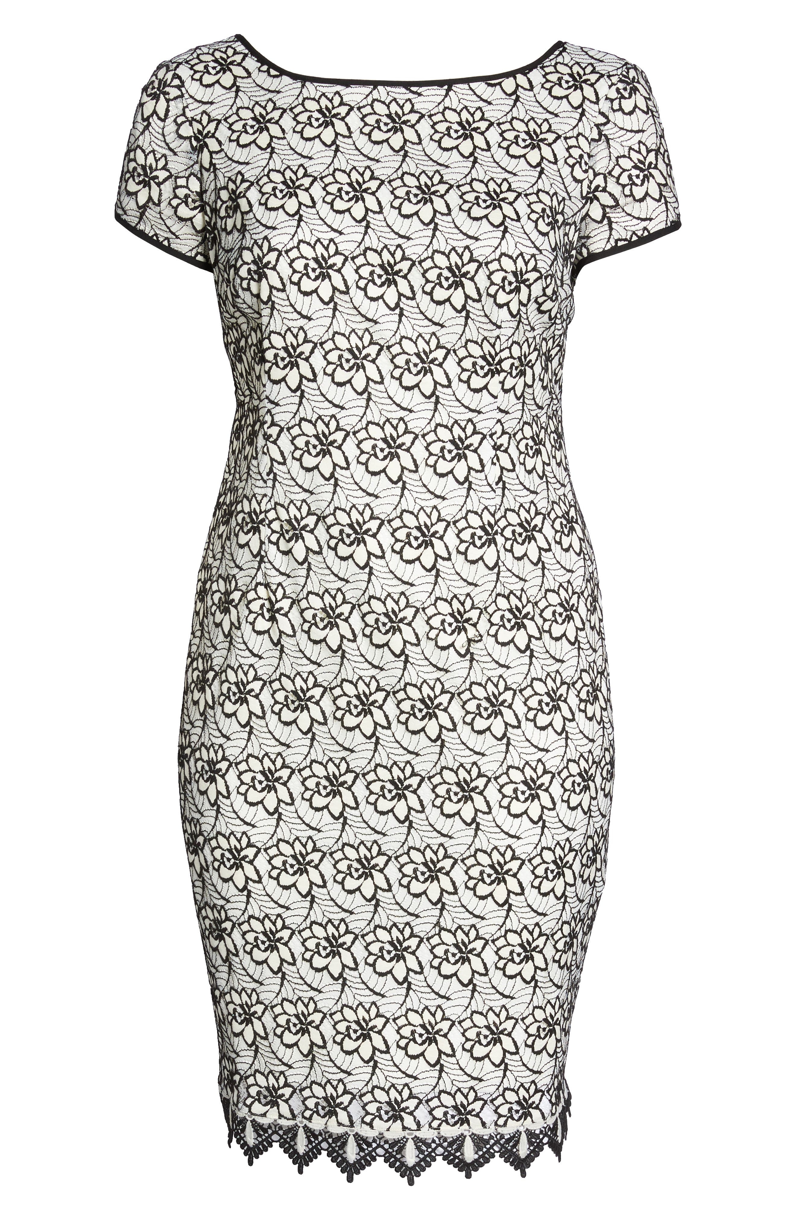 Lace Trim Sheath Dress,                             Alternate thumbnail 6, color,