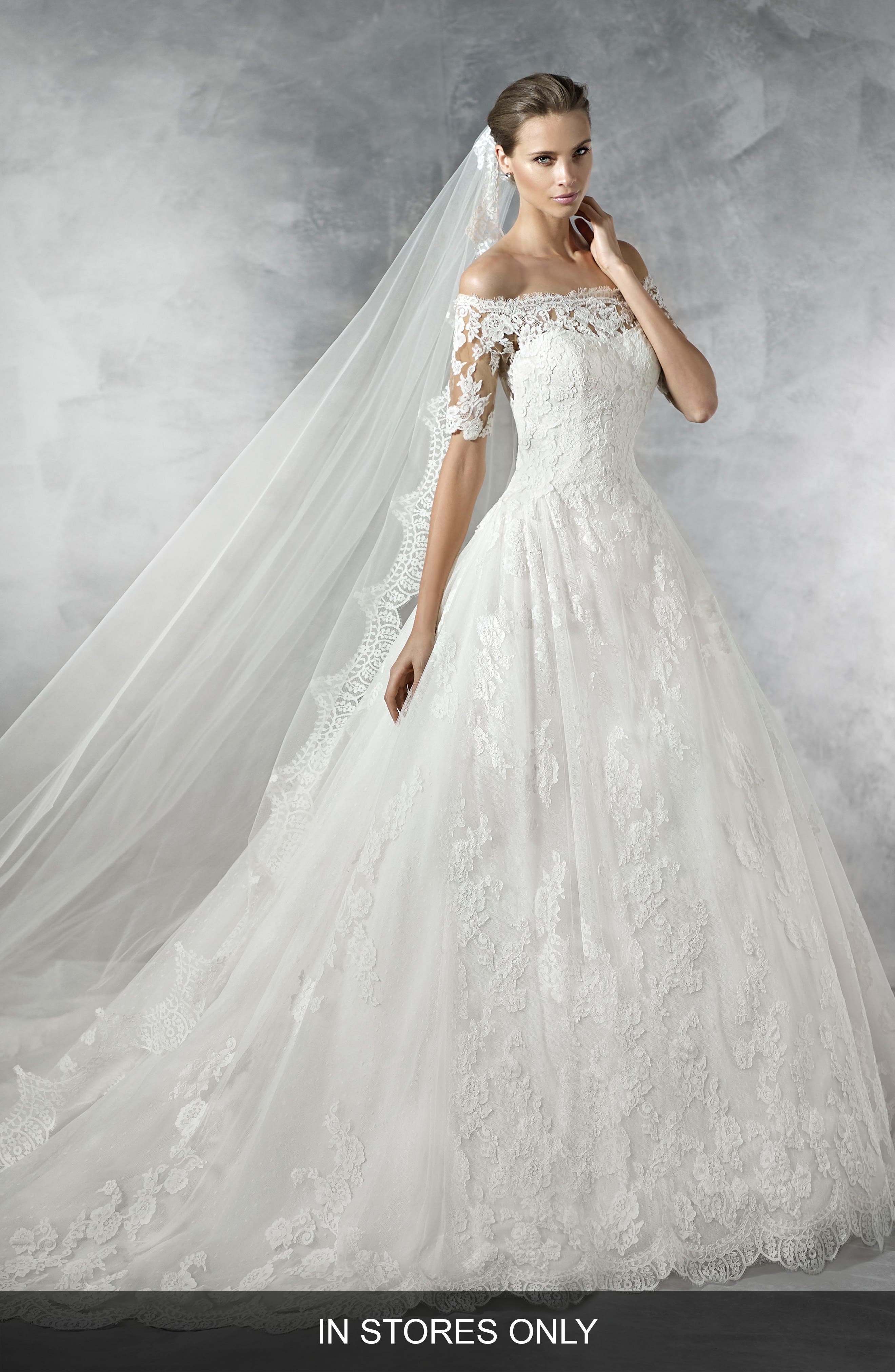 Pleasant Off the Shoulder Tulle & Lace Ballgown,                         Main,                         color,