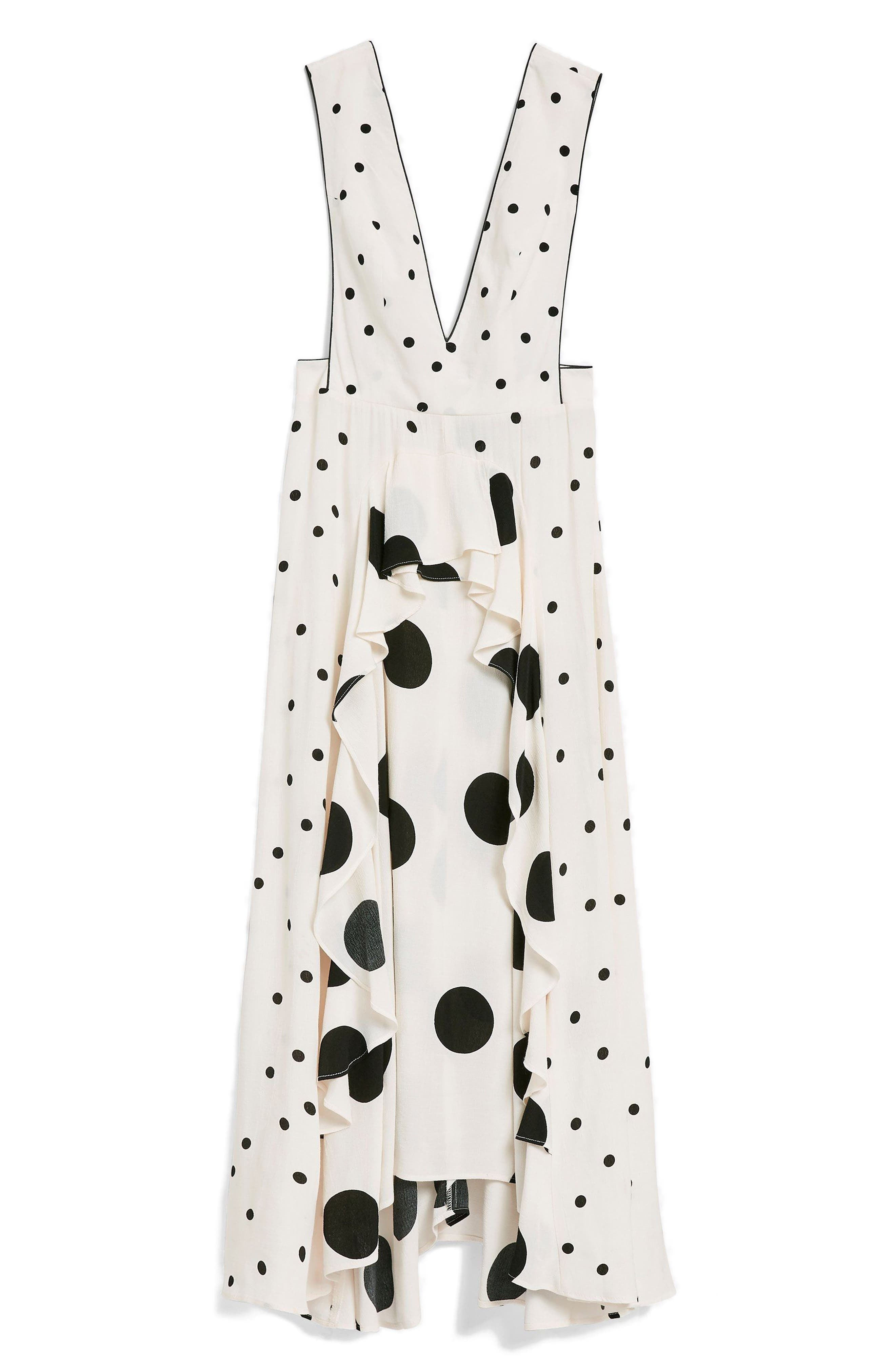 Mix Spotted Pinafore Midi Dress,                             Alternate thumbnail 4, color,