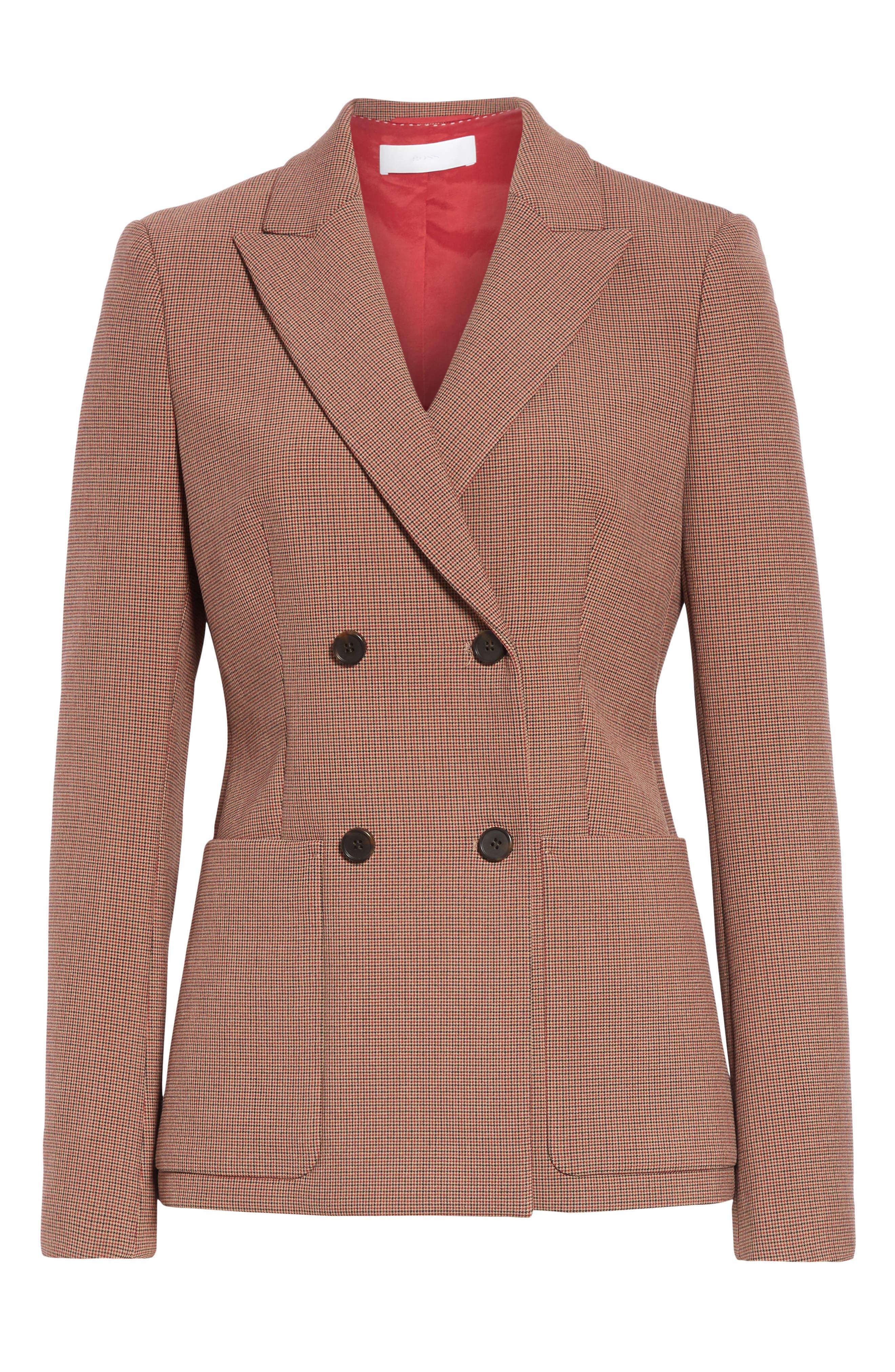 Joliviena Check Suit Jacket,                             Alternate thumbnail 5, color,                             DARK RED CHECK